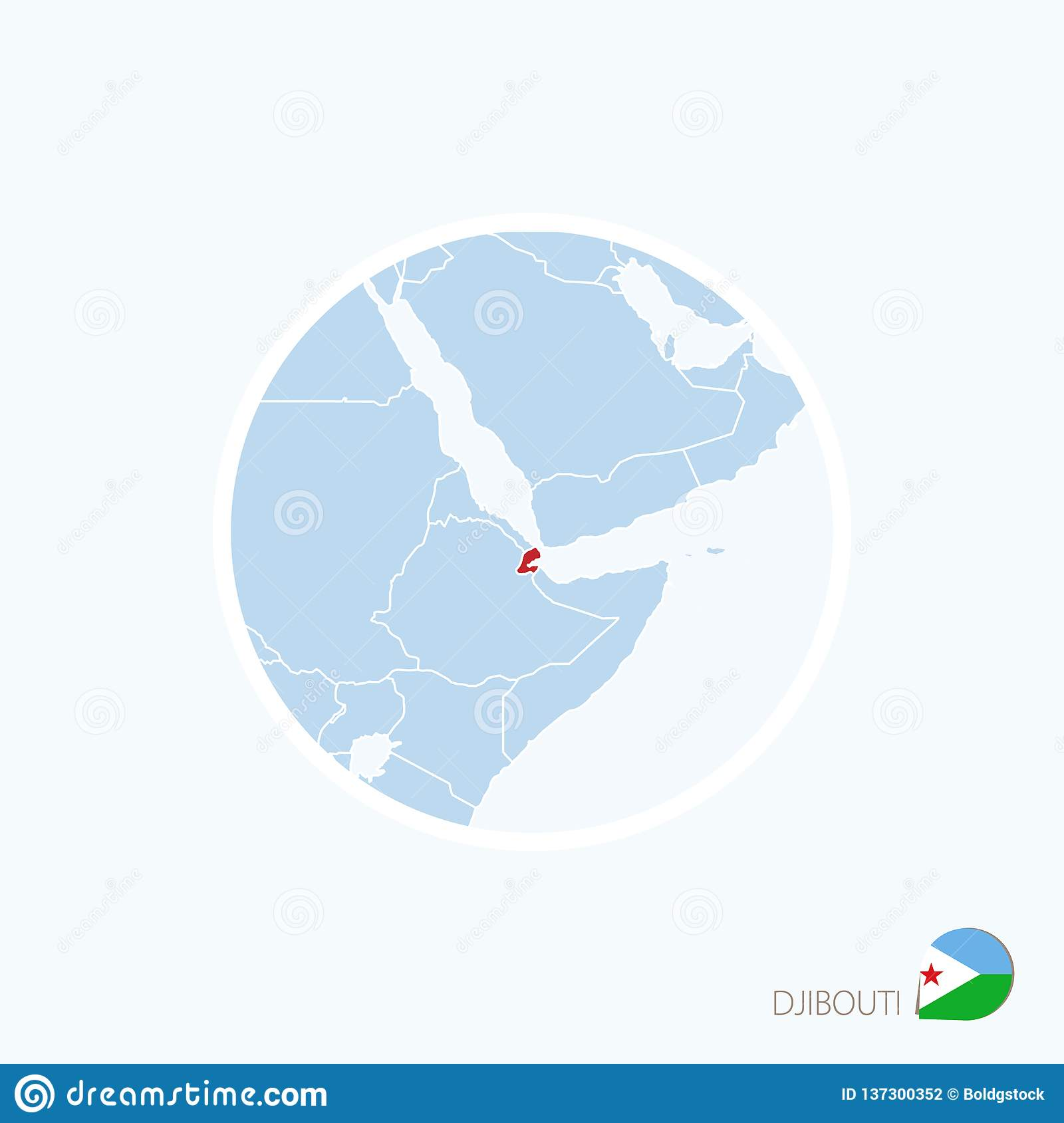 Map Icon Of Djibouti. Blue Map Of Africa With Highlighted Djibouti ...