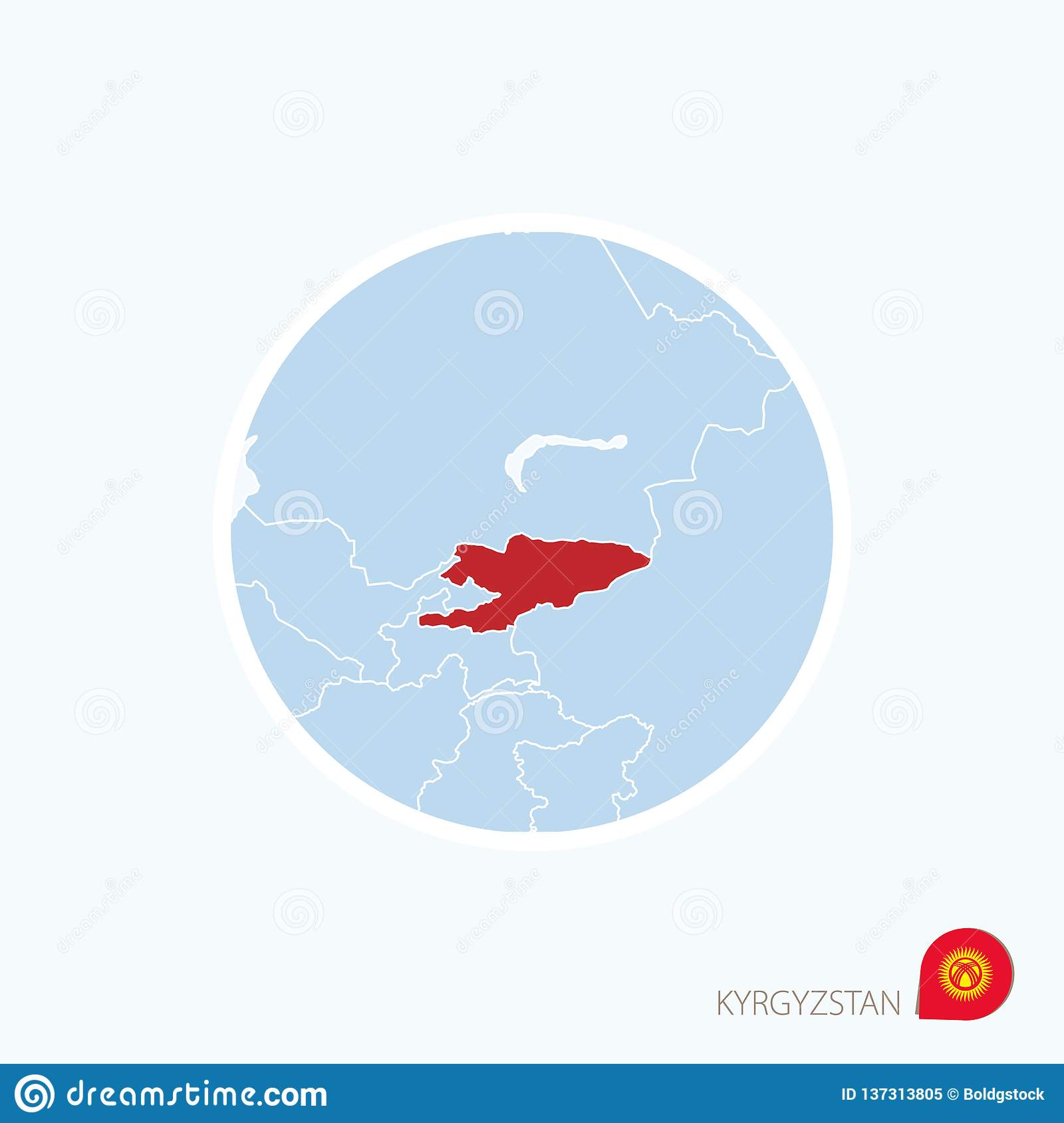 Map Of Asia Kyrgyzstan.Map Icon Of Kyrgyzstan Blue Map Of Asia With Highlighted Kyrgyzstan