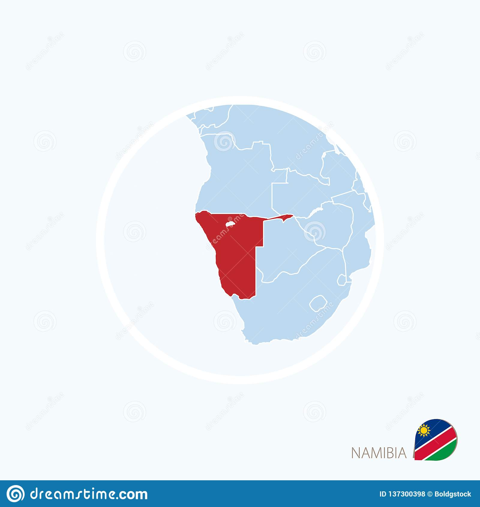 Map Icon Of Namibia. Blue Map Of Southern Africa With Highlighted ...