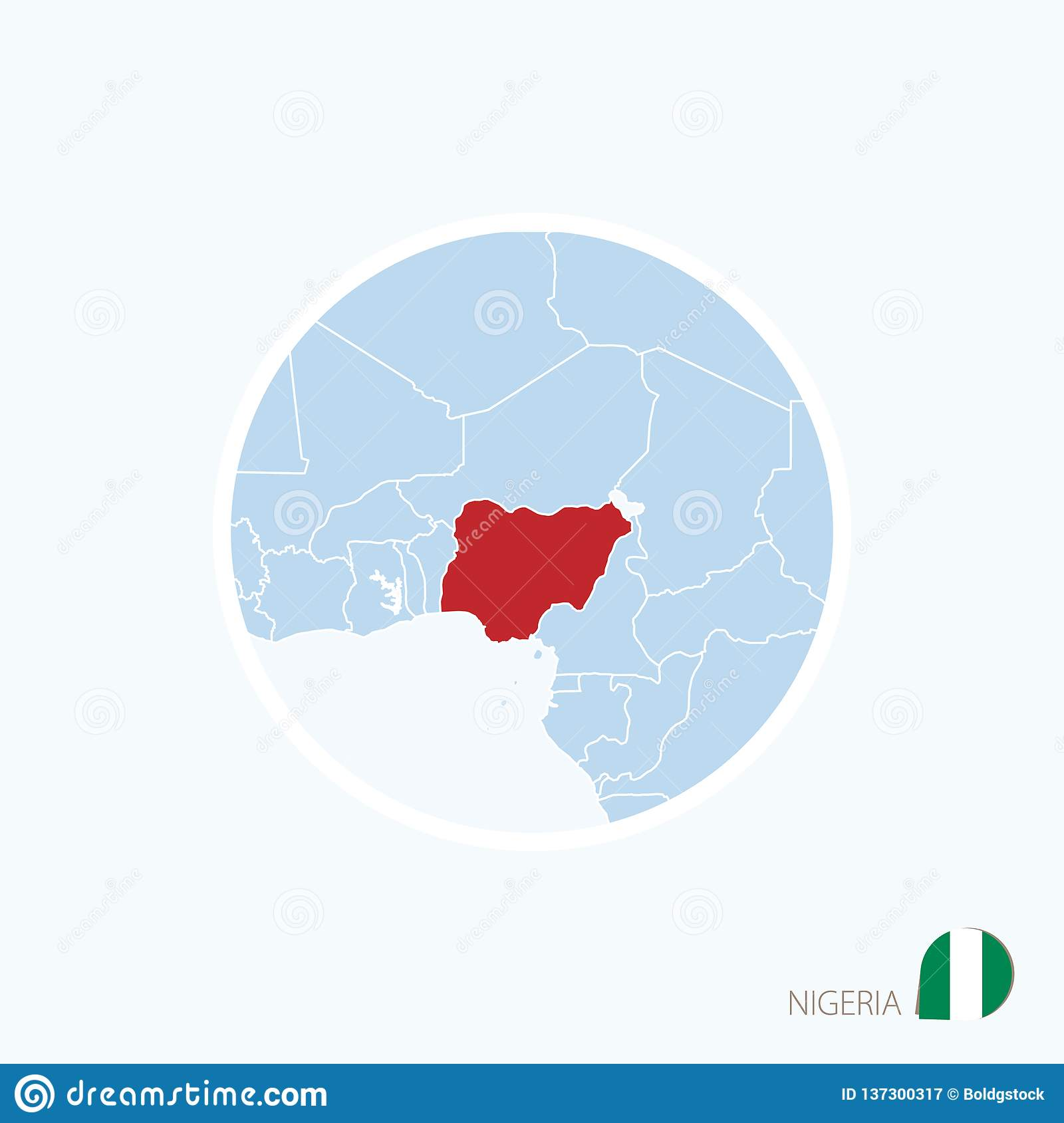 Map Icon Of Nigeria. Blue Map Of West Africa With Highlighted