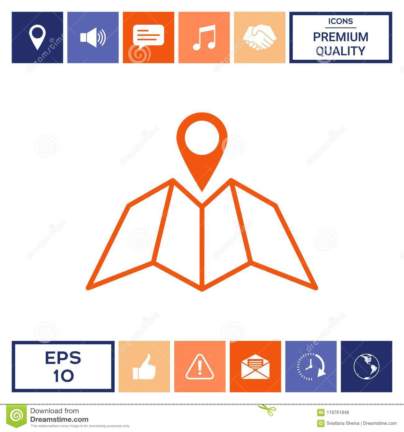 Map Icon With Pin Pointer Stock Vector Illustration Of City 116761848