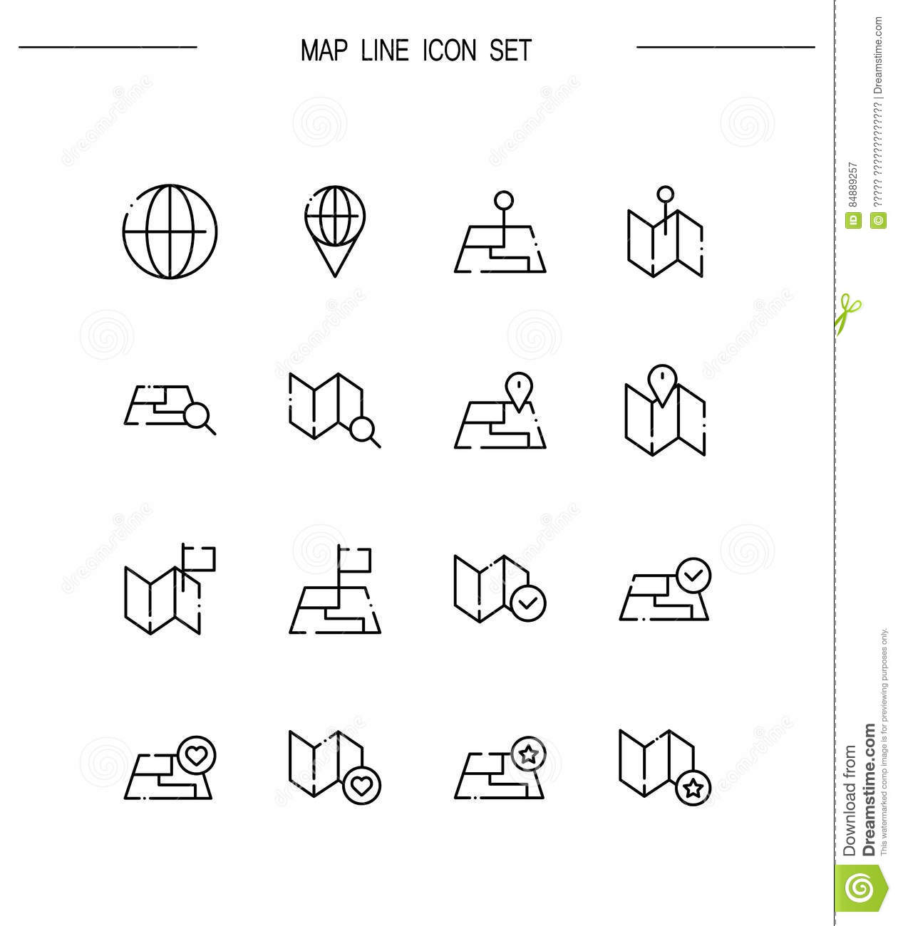 Map Icon Set Stock Vector Illustration Of Road Find 84889257