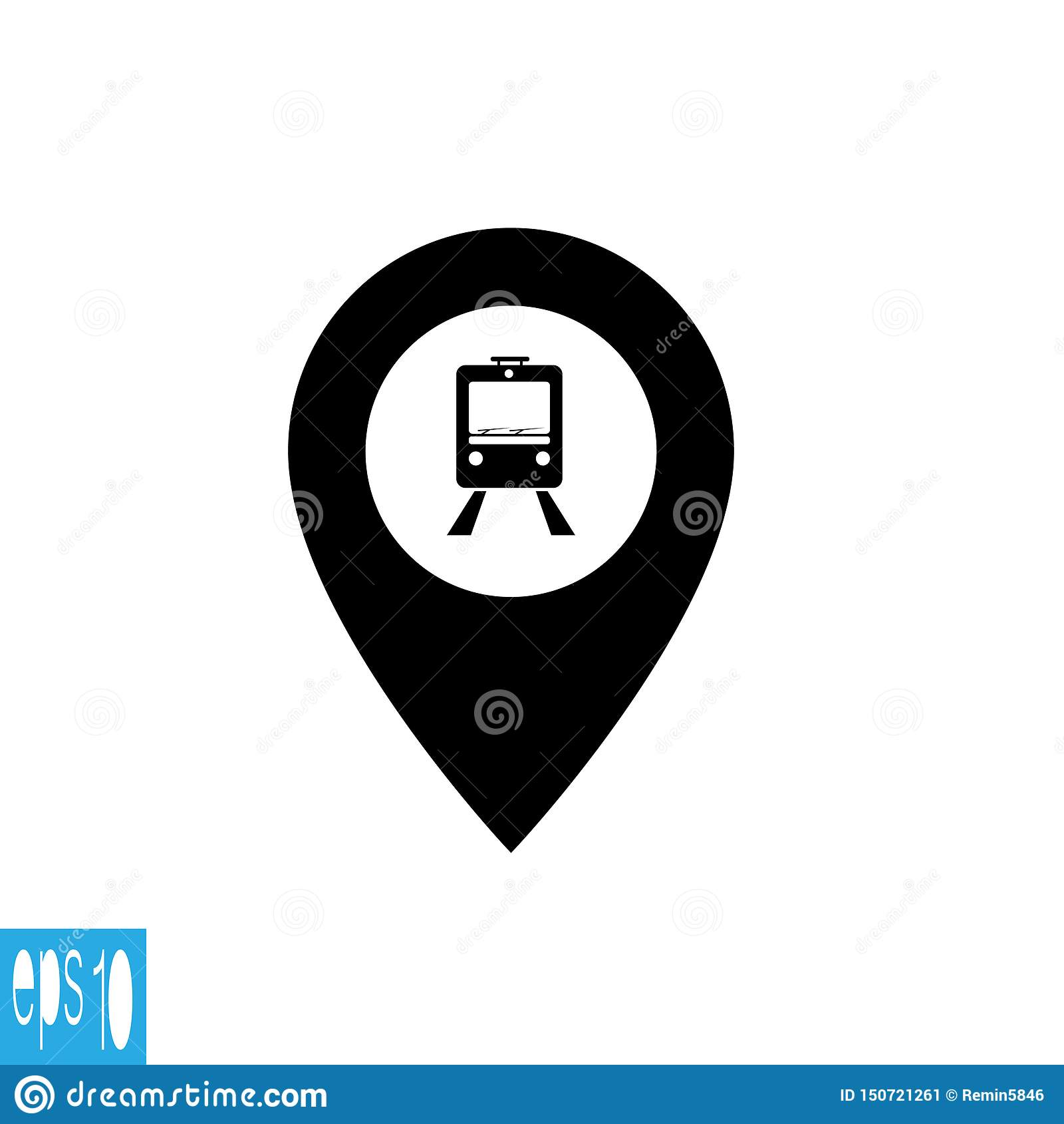 Map icon with train, trolley - vector illustration