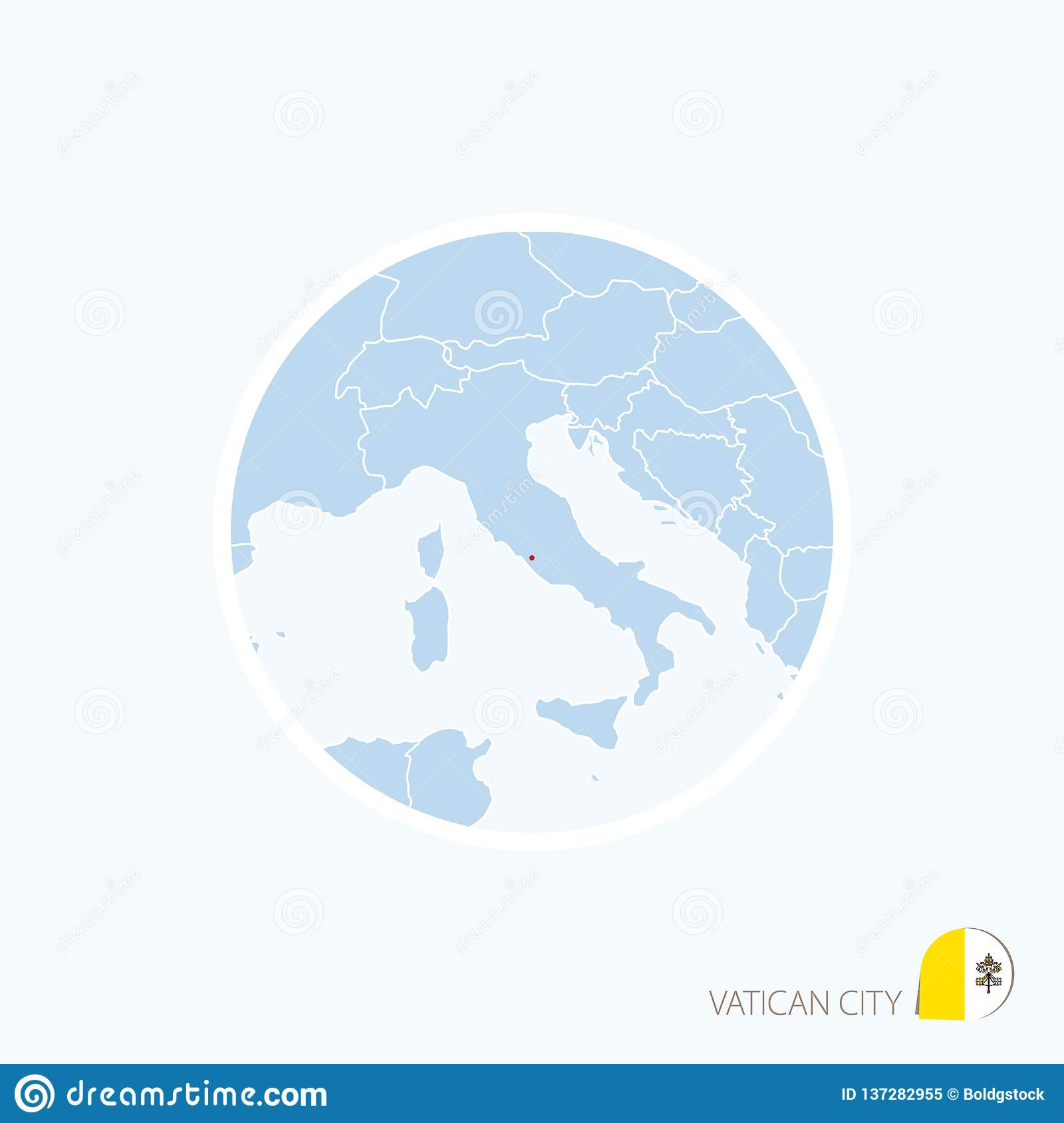 Map Icon Of Vatican City  Blue Map Of Europe With