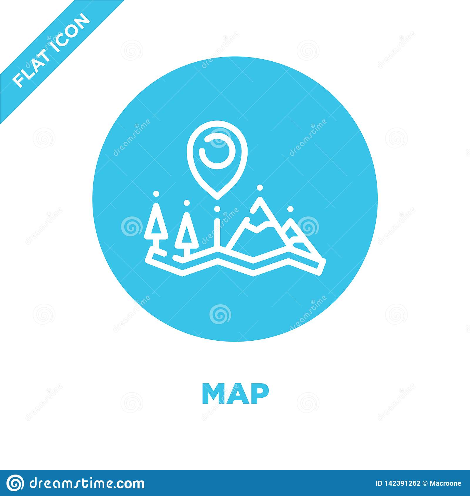 map icon vector from camping collection. Thin line map outline icon vector  illustration. Linear symbol for use on web and mobile