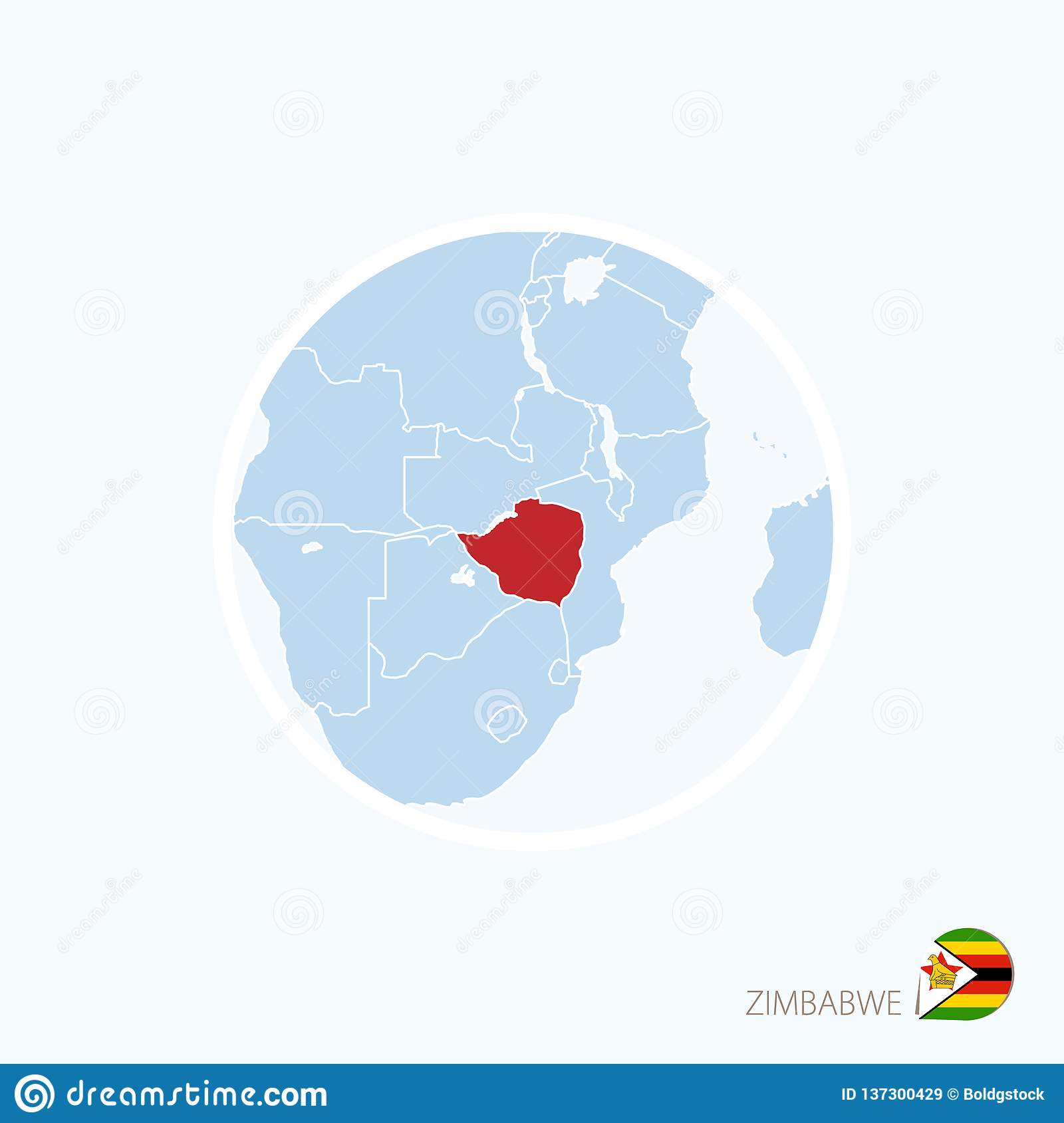 Map Of Africa Showing Zimbabwe.Map Icon Of Zimbabwe Blue Map Of Africa With Highlighted Zimbabwe