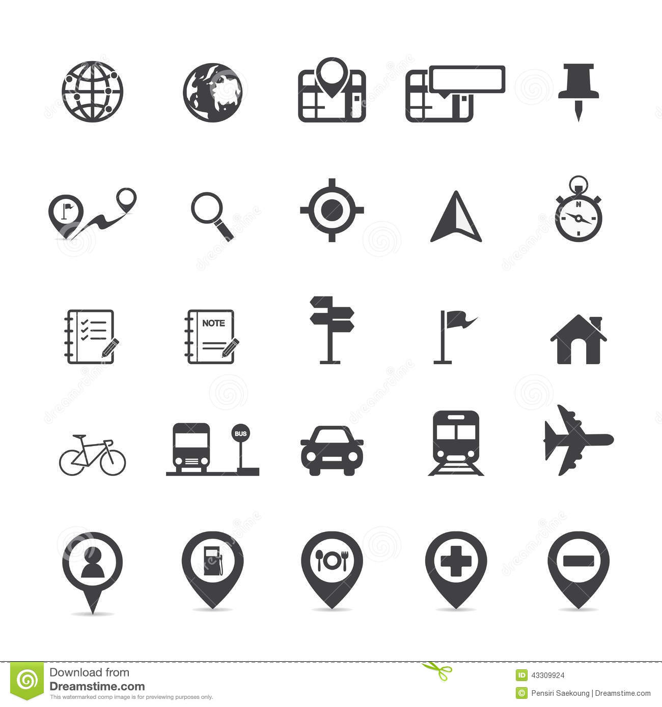 Map Icons And Location Icons Stock Vector Illustration Of Lamps
