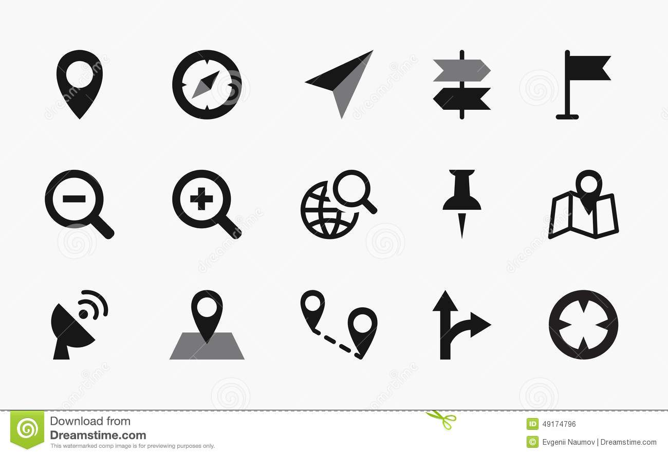 Map Icons, Mono Vector Symbols Stock Vector - Image: 49174796