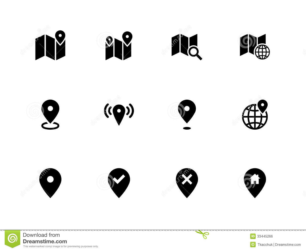 Map Icons On White Background. GPS And Navigation. Royalty Free ...