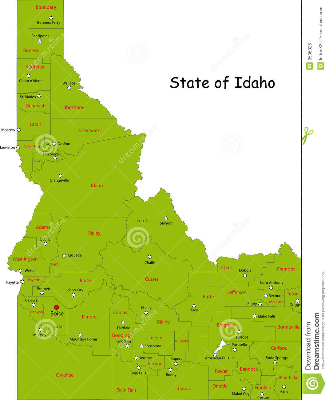 Map Idaho State Royalty Free Stock Image Image