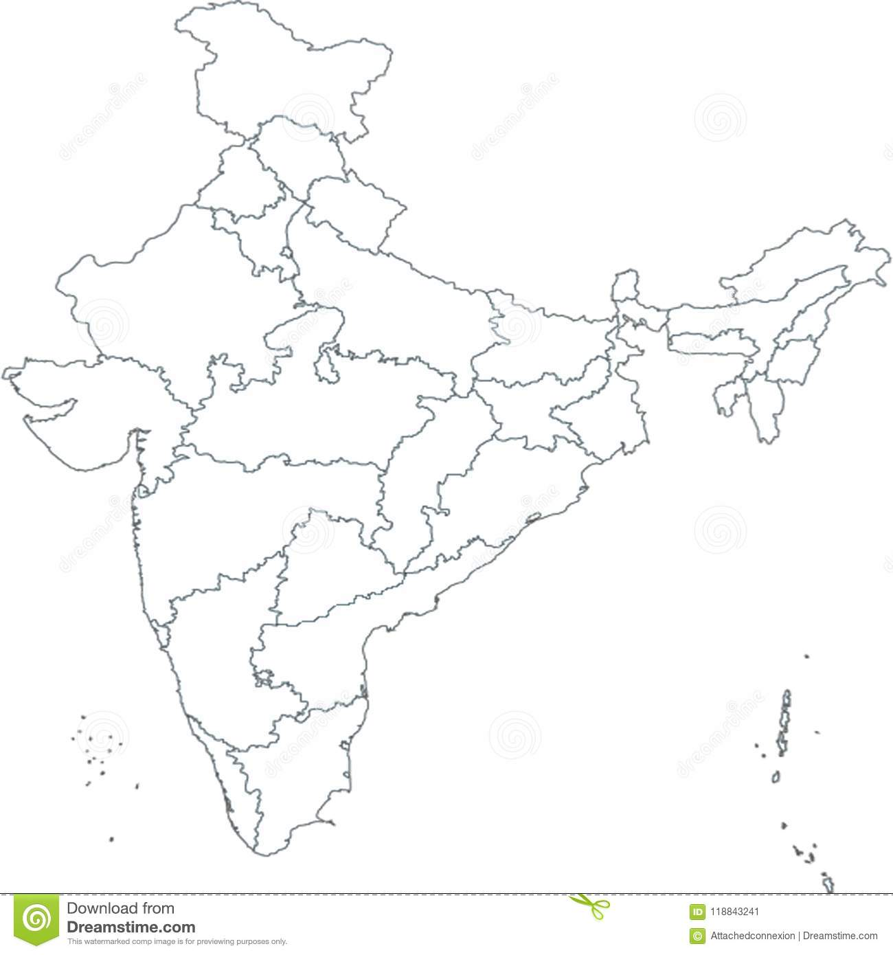 India Map With All States.Map Of India Asia With All States And Country Boundary Stock