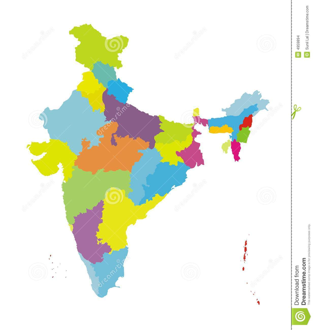 Map Of India [col] Authentic Stock Illustration - Illustration of ...