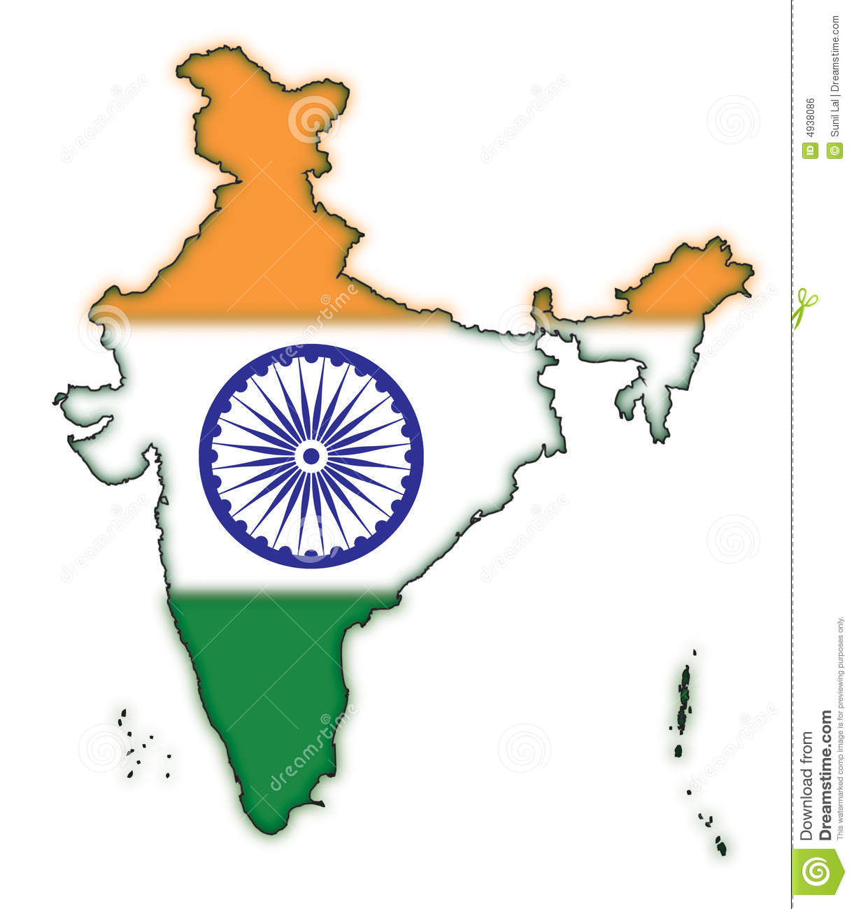 Map Of India Flag Concept 1 Stock Illustration Illustration Of