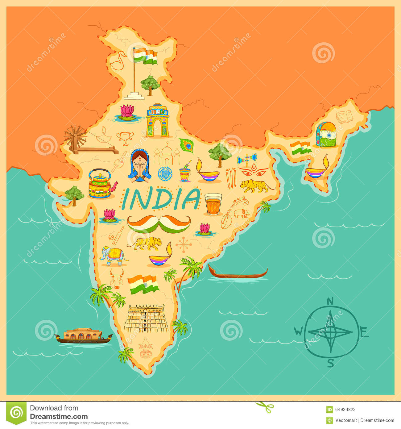 Map Of India Stock Vector. Illustration Of National