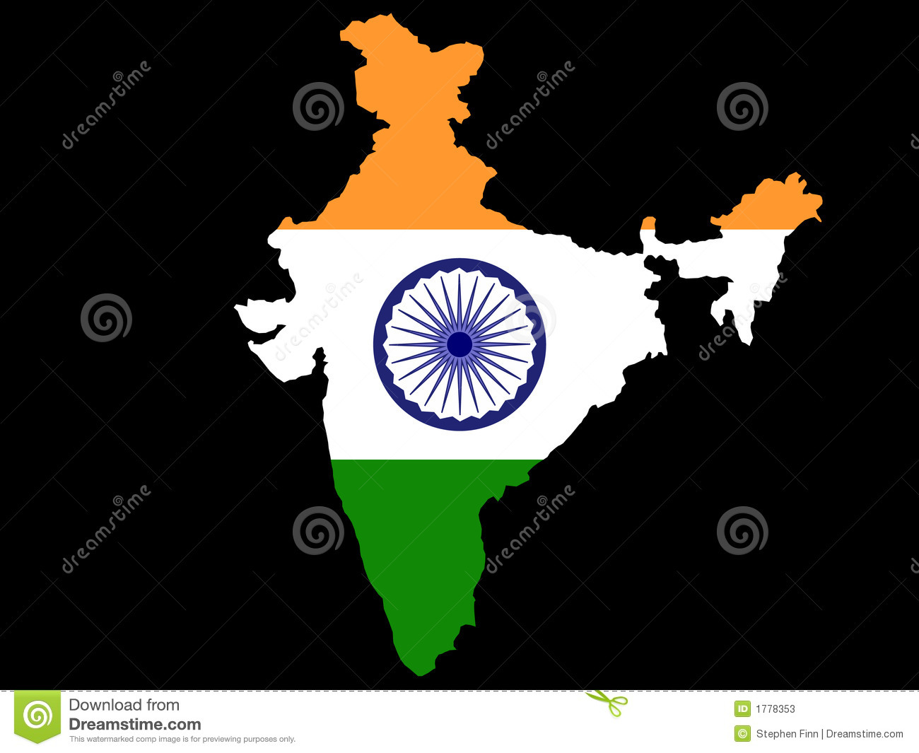 India Flag Map: Map Of India And Indian Flag Stock Vector