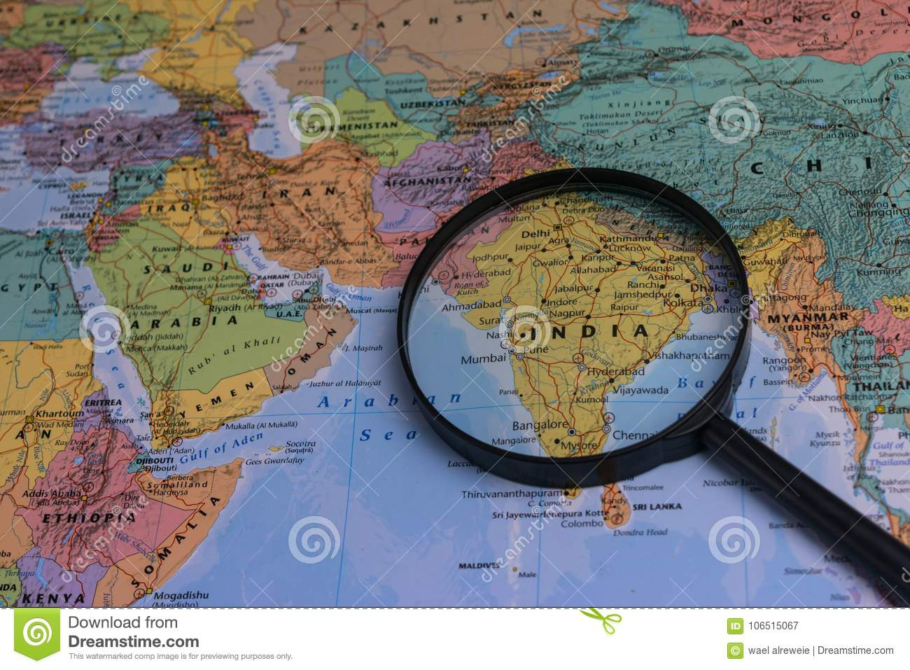 Map of india through magnifying glass on a world map stock image download map of india through magnifying glass on a world map stock image image gumiabroncs Gallery