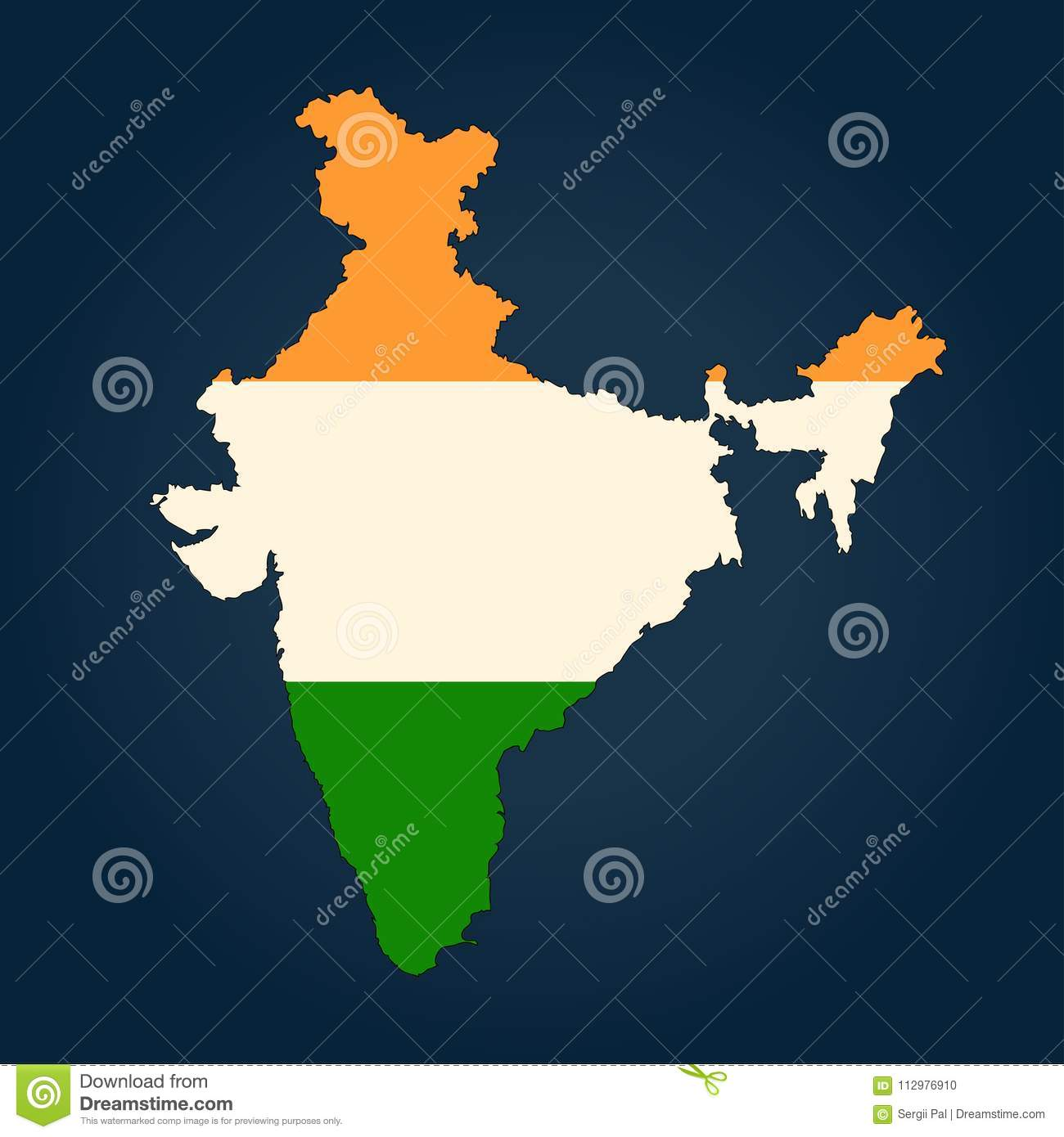 Map of India painted in the colors of the national flag Isolated on background