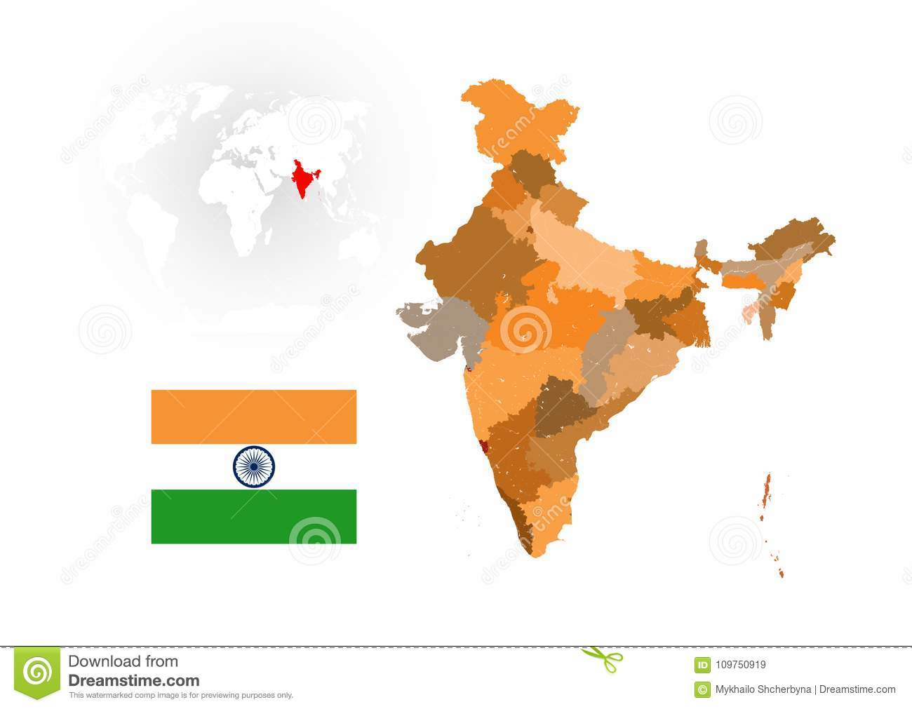 Map Of India With Rivers And Lakes Stock Vector Illustration Of