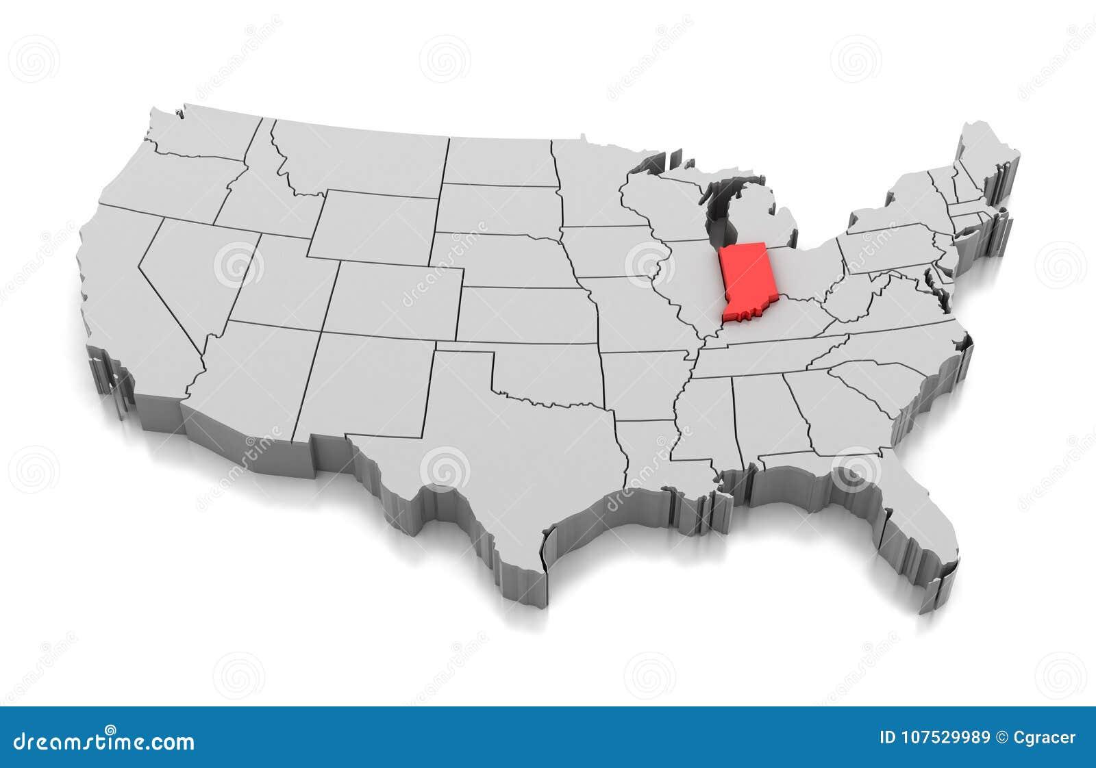 Map of Indiana state, USA stock illustration. Illustration ...