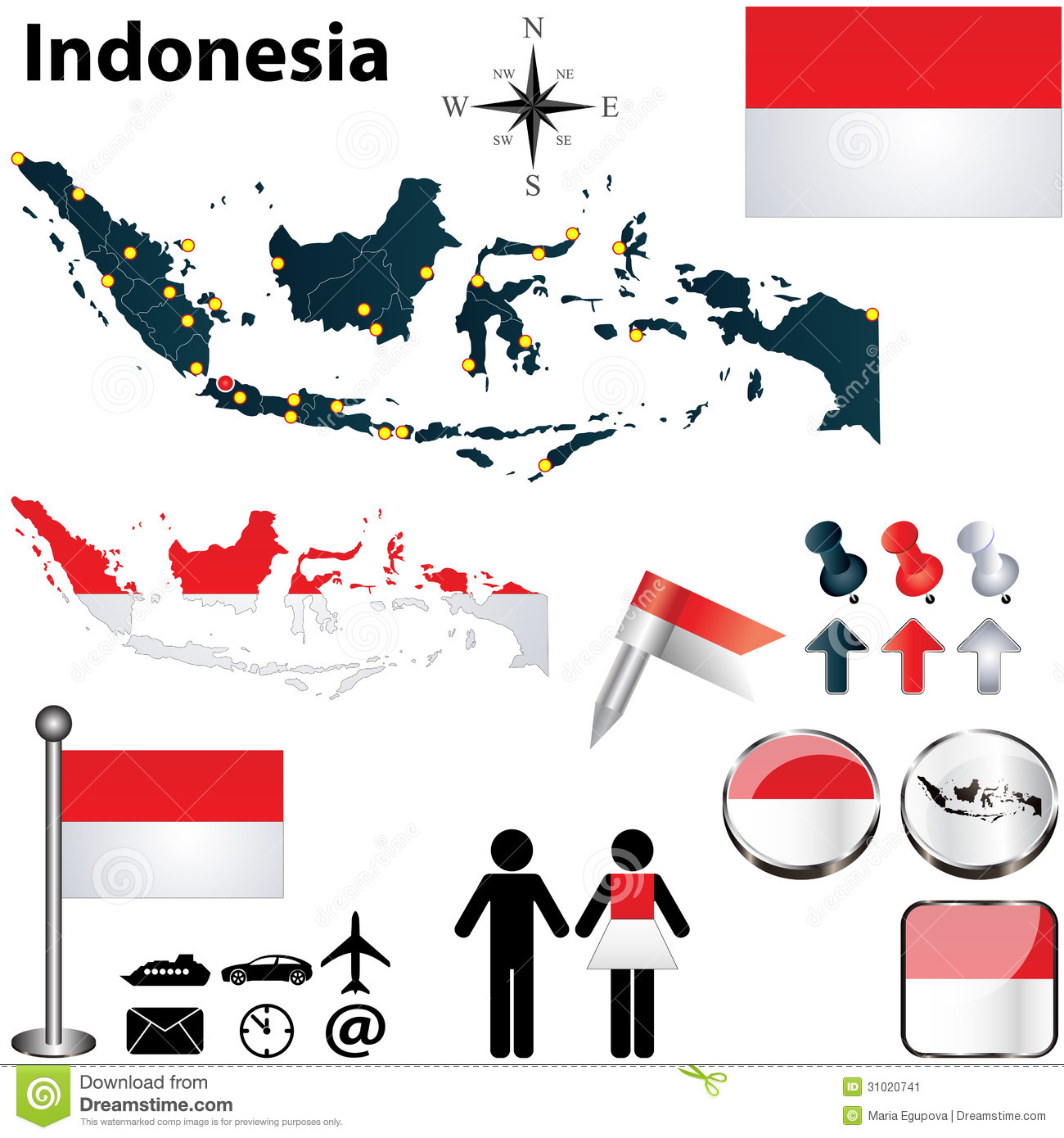 Map of Indonesia stock vector Illustration of flag boundary