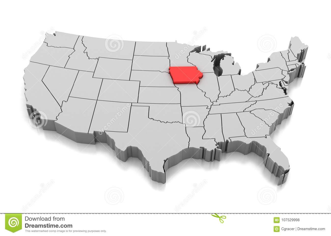 Map of Iowa state, USA stock illustration. Illustration of ...