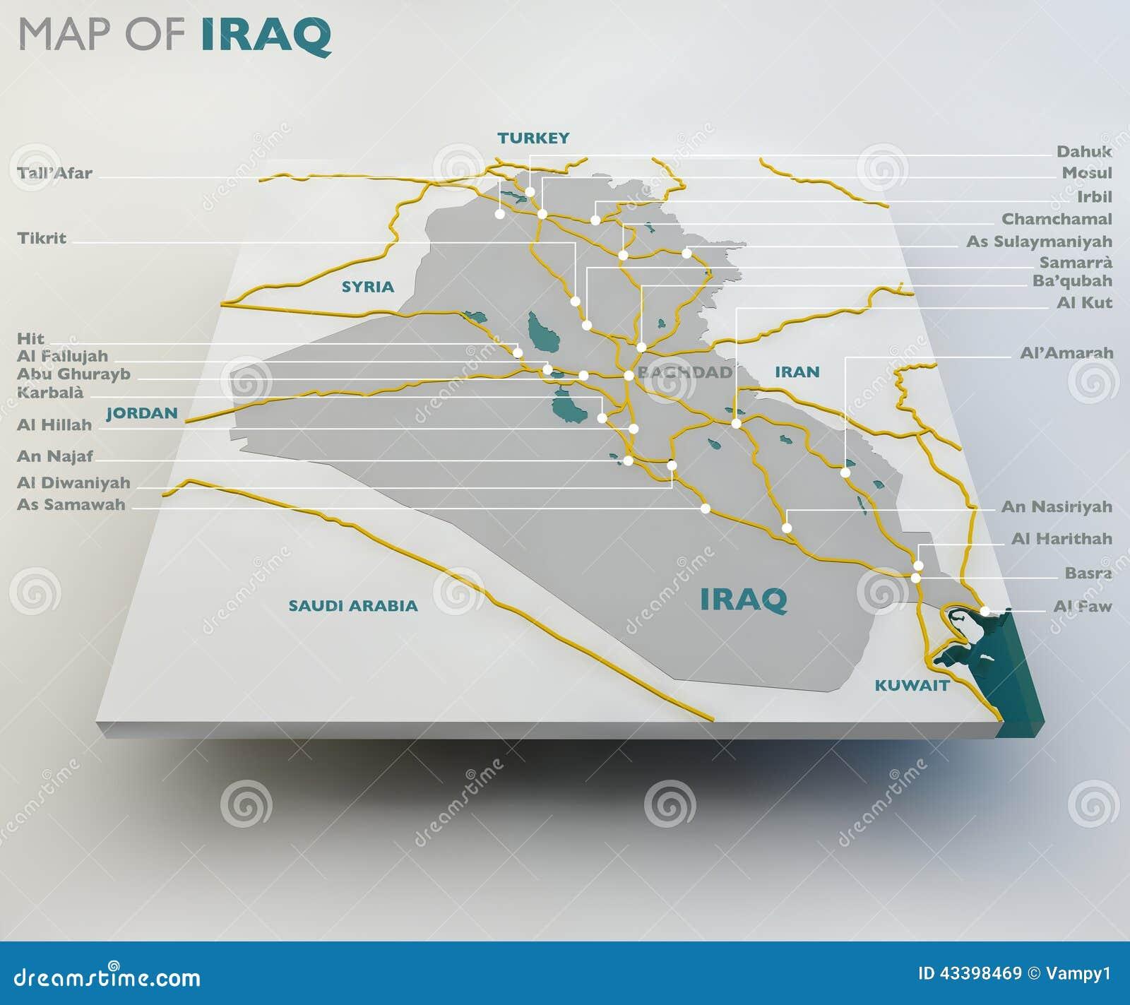 Map Of Iraq The Iraqi State Boundaries Roads And Cities Stock