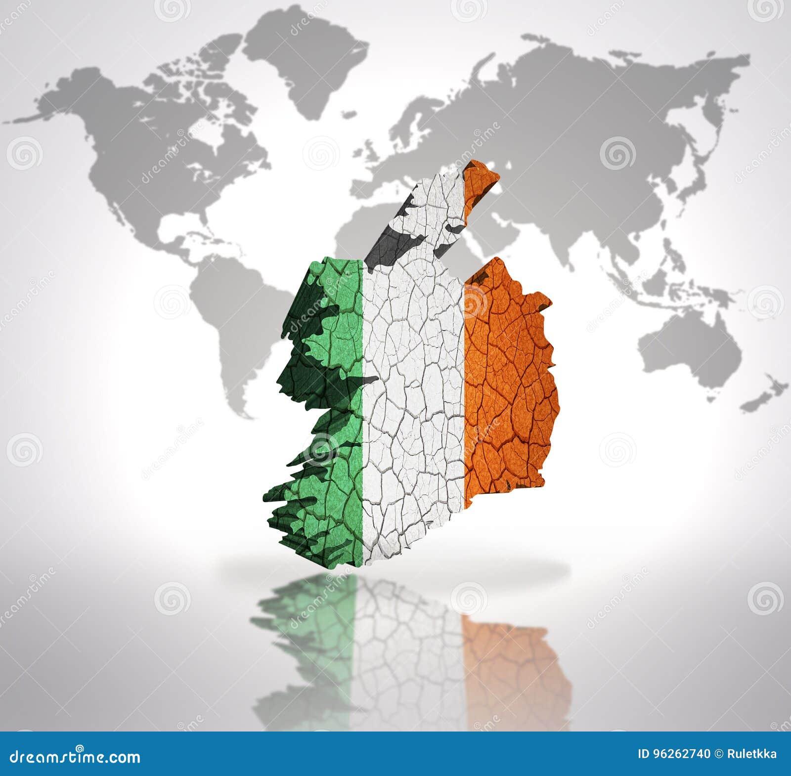 Map Of Ireland On World Map.Map Of Ireland Stock Illustration Illustration Of Mirror 96262740