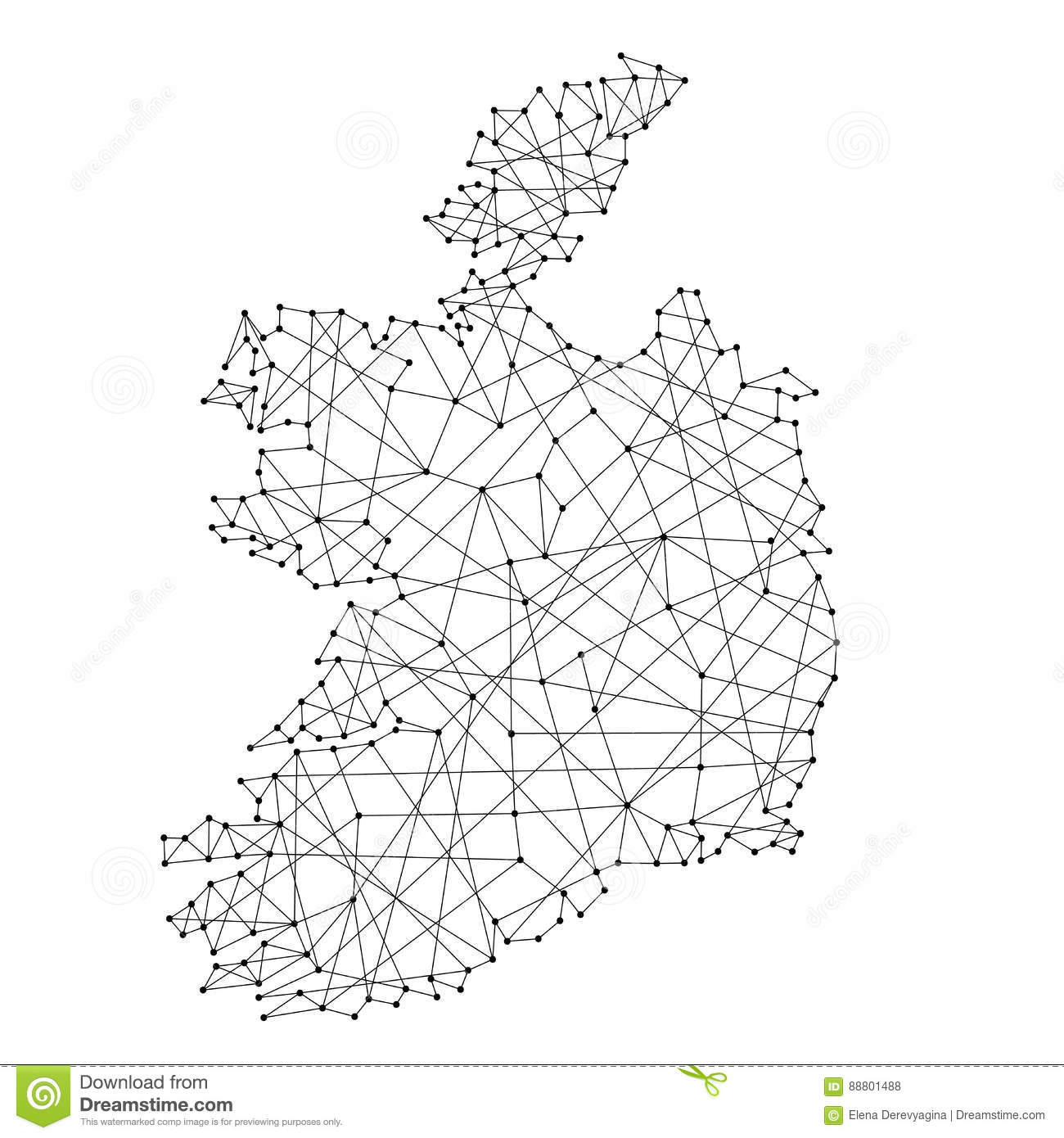 Map Of Ireland Black And White.Map Of Ireland From Polygonal Black Lines Dots Of Vector