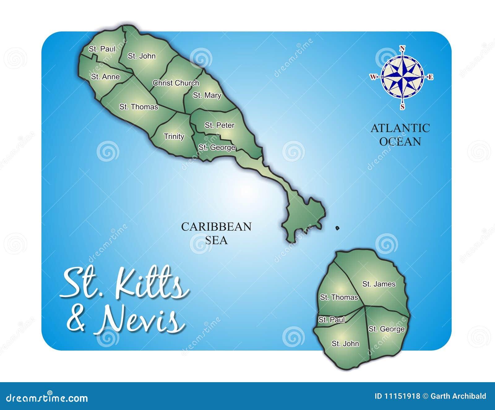 Map Of Island St. Kitts (Saint Christopher/Nevis) Stock Vector ...