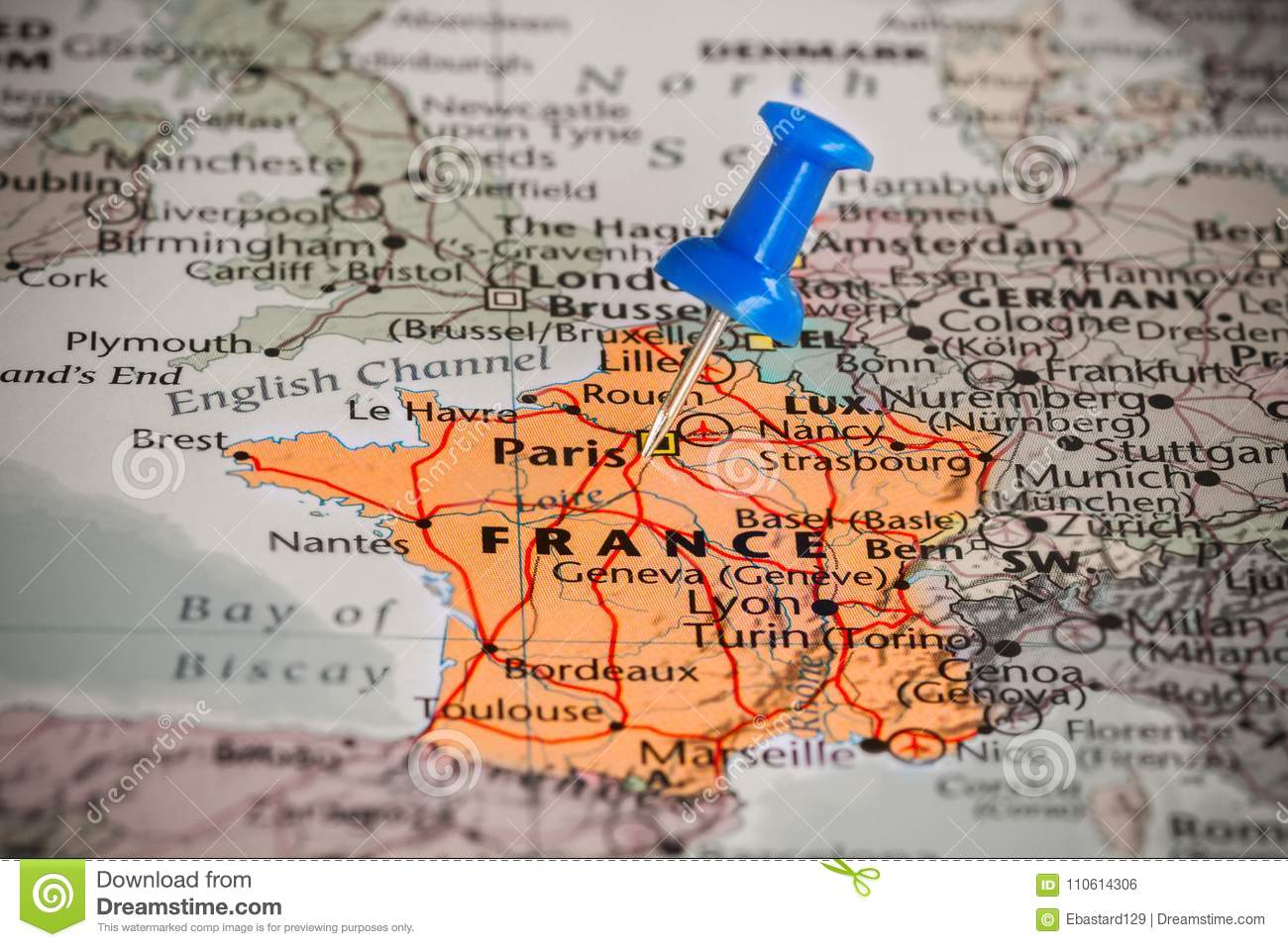 Map Of France With A Blue Pushpin Stuck Stock Photo Image Of