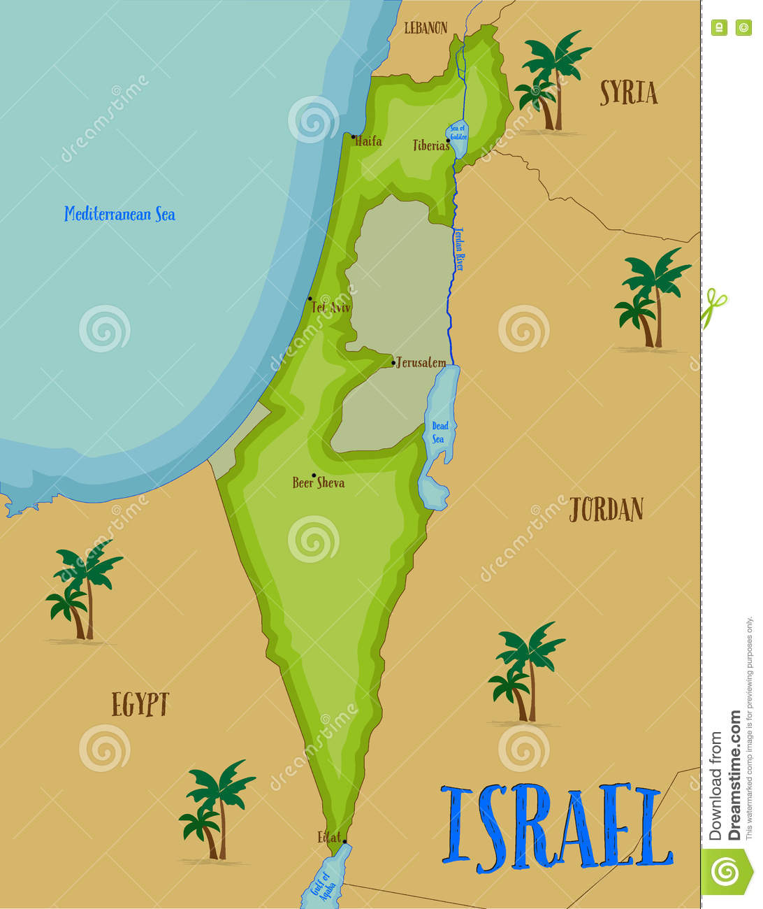 Map Of Israel In Cartoon Style Stock Vector Illustration - Isreal map
