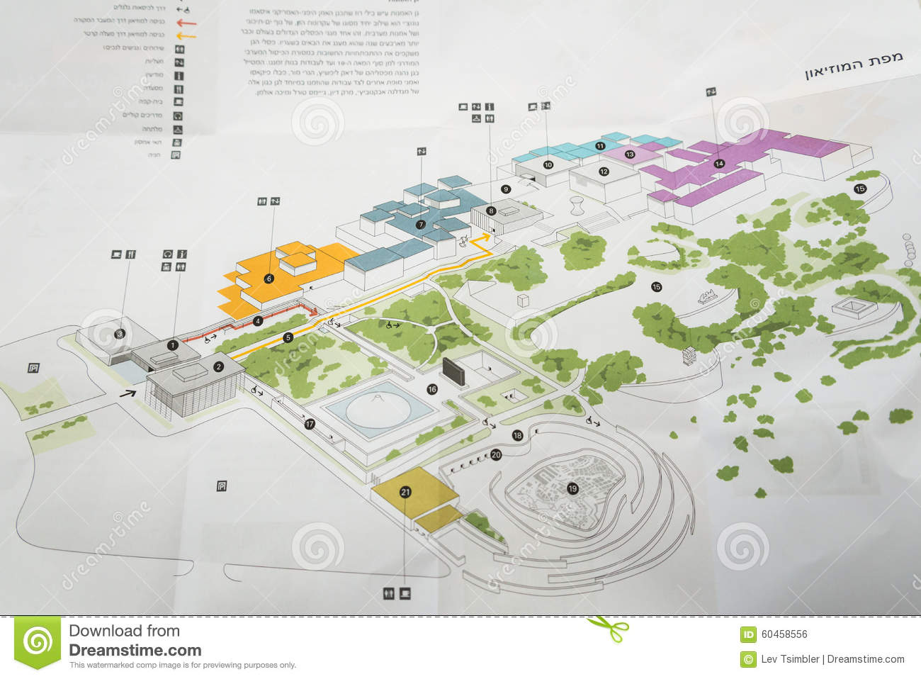 Map Of Israel Museum In Jerusalem Stock Photo - Image of location ...