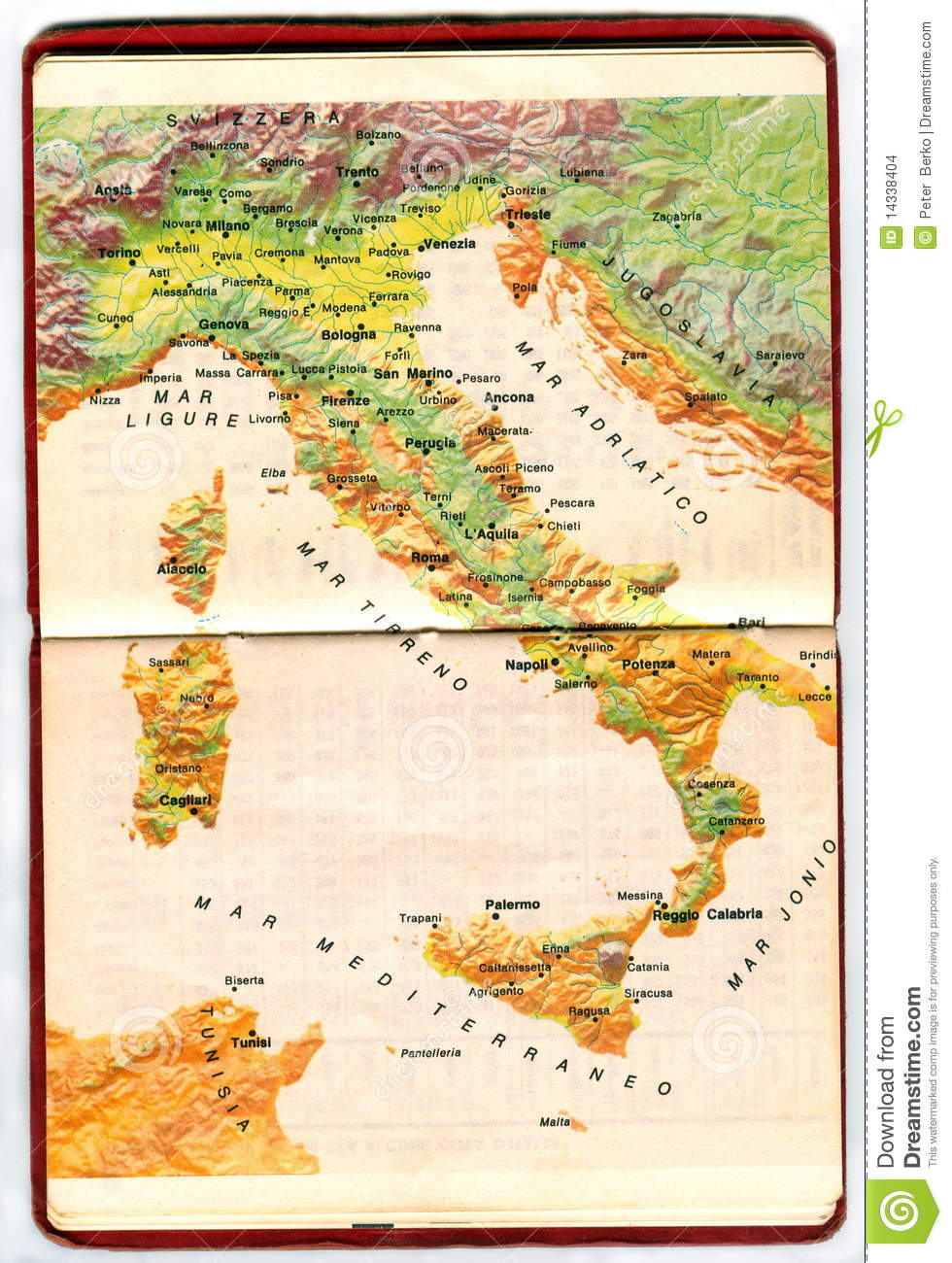 Map Of Italy Stock Photo Image Of Rough Background 14338404