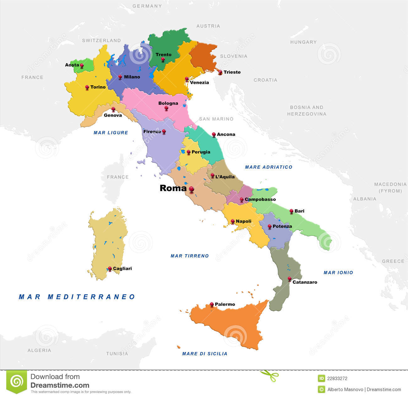 Provincial Map Of Italy.Map Of Italy Stock Illustration Illustration Of Island