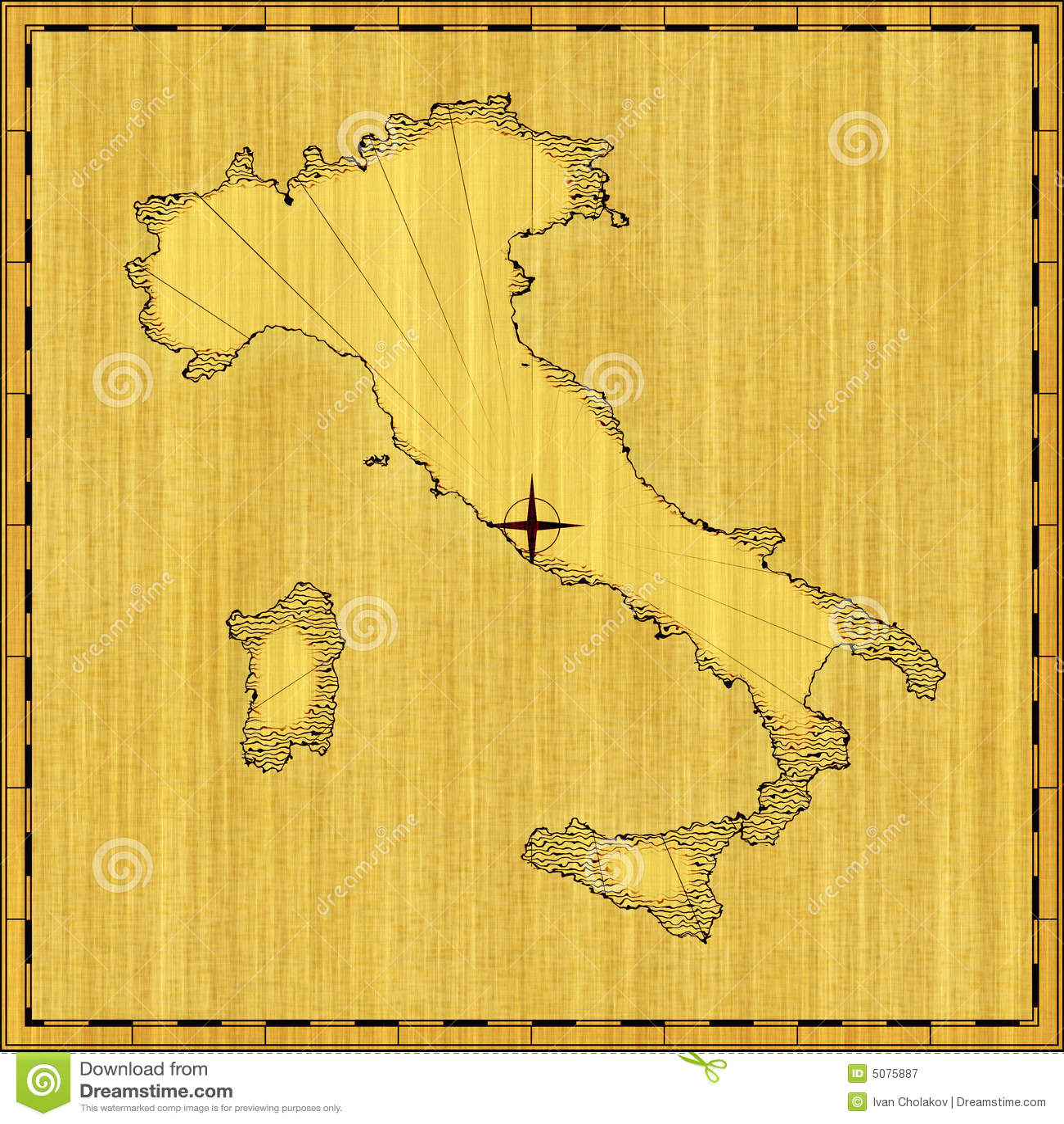 Map of Italy stock illustration. Illustration of renaissance - 5075887