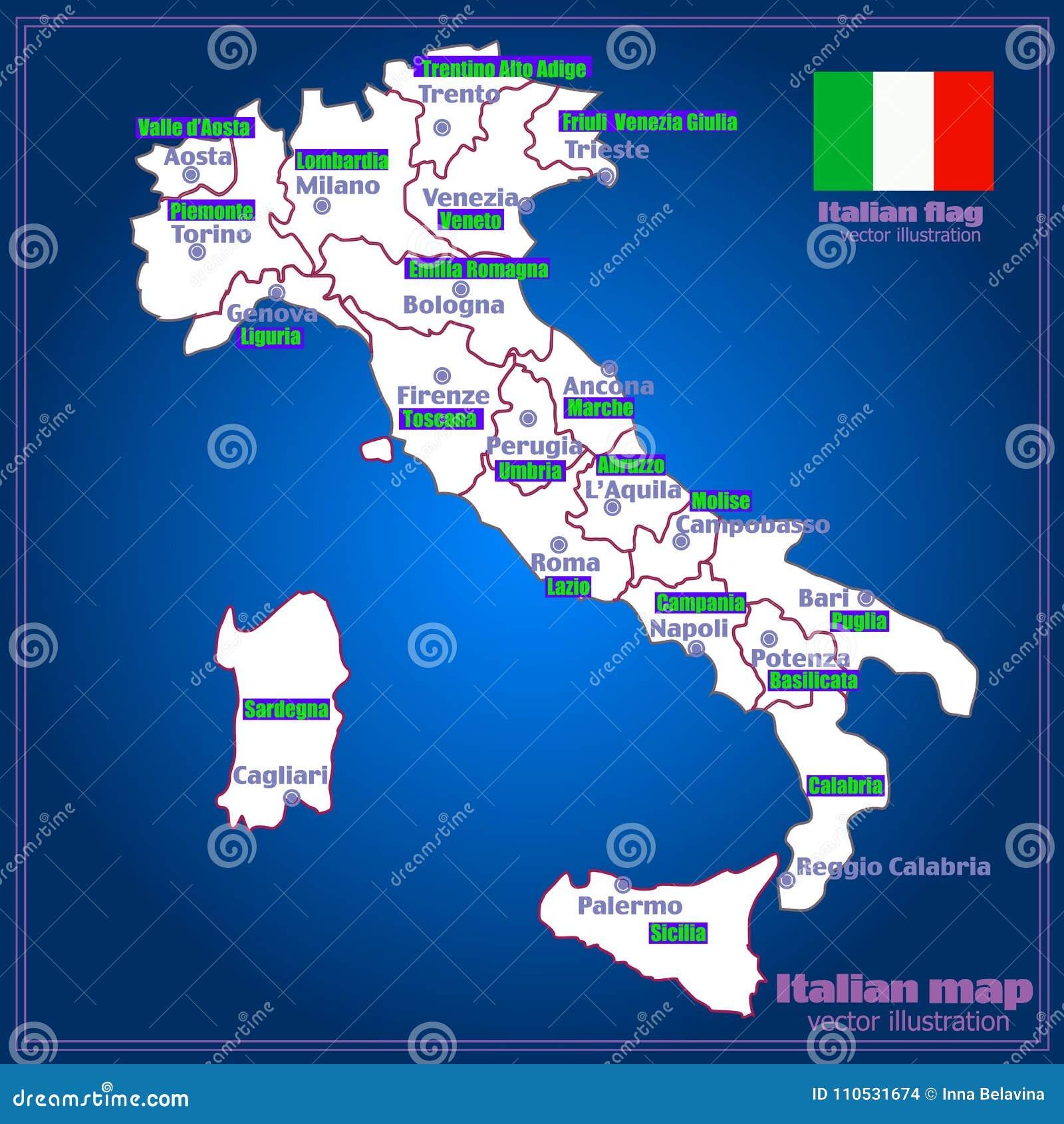 Italy Map Of Regions.Italy Map With Italian Regions Vector Stock Vector Illustration