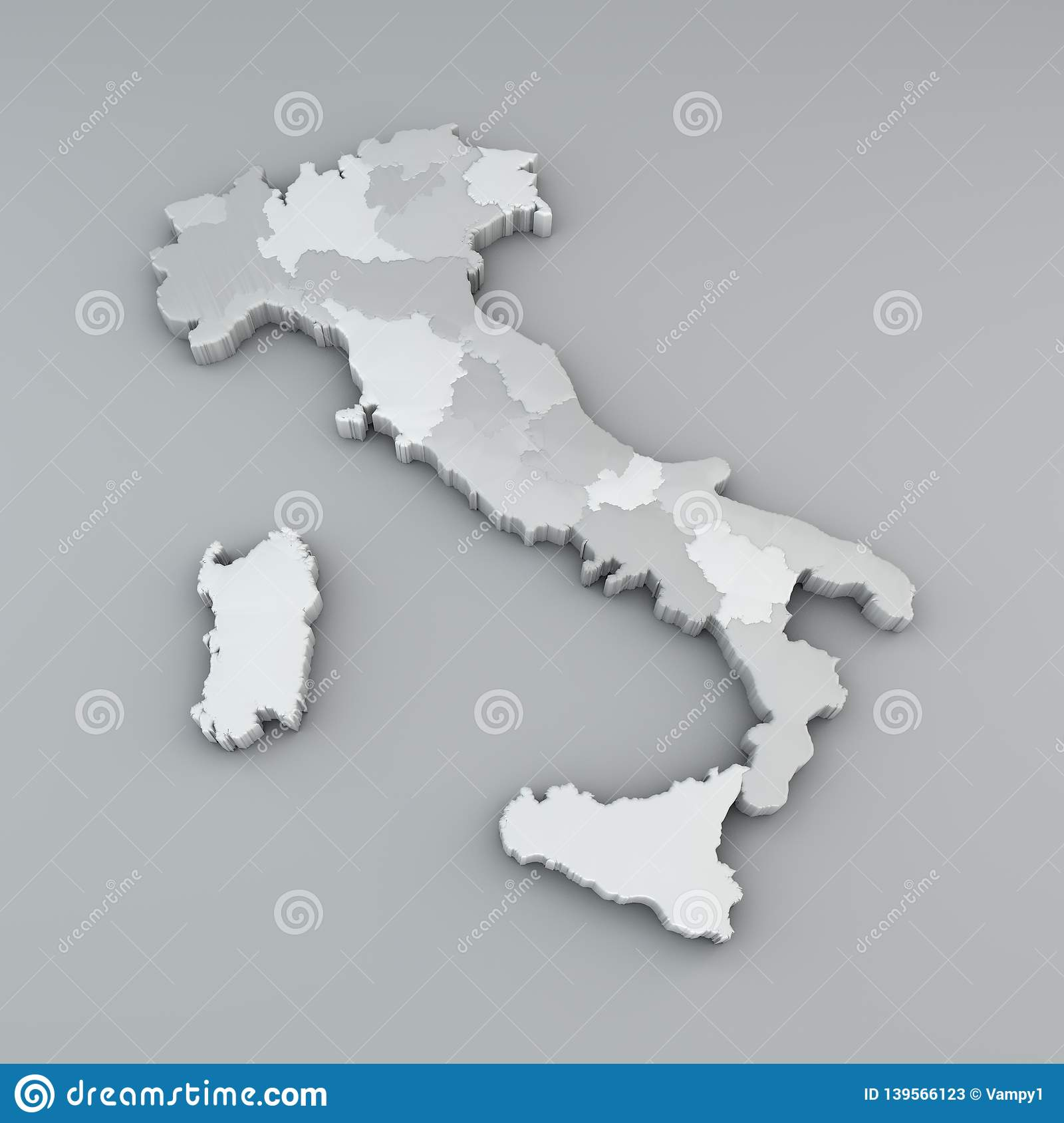 Map Of Italy In 3d, Division In Regions And Autonomous Provinces ...