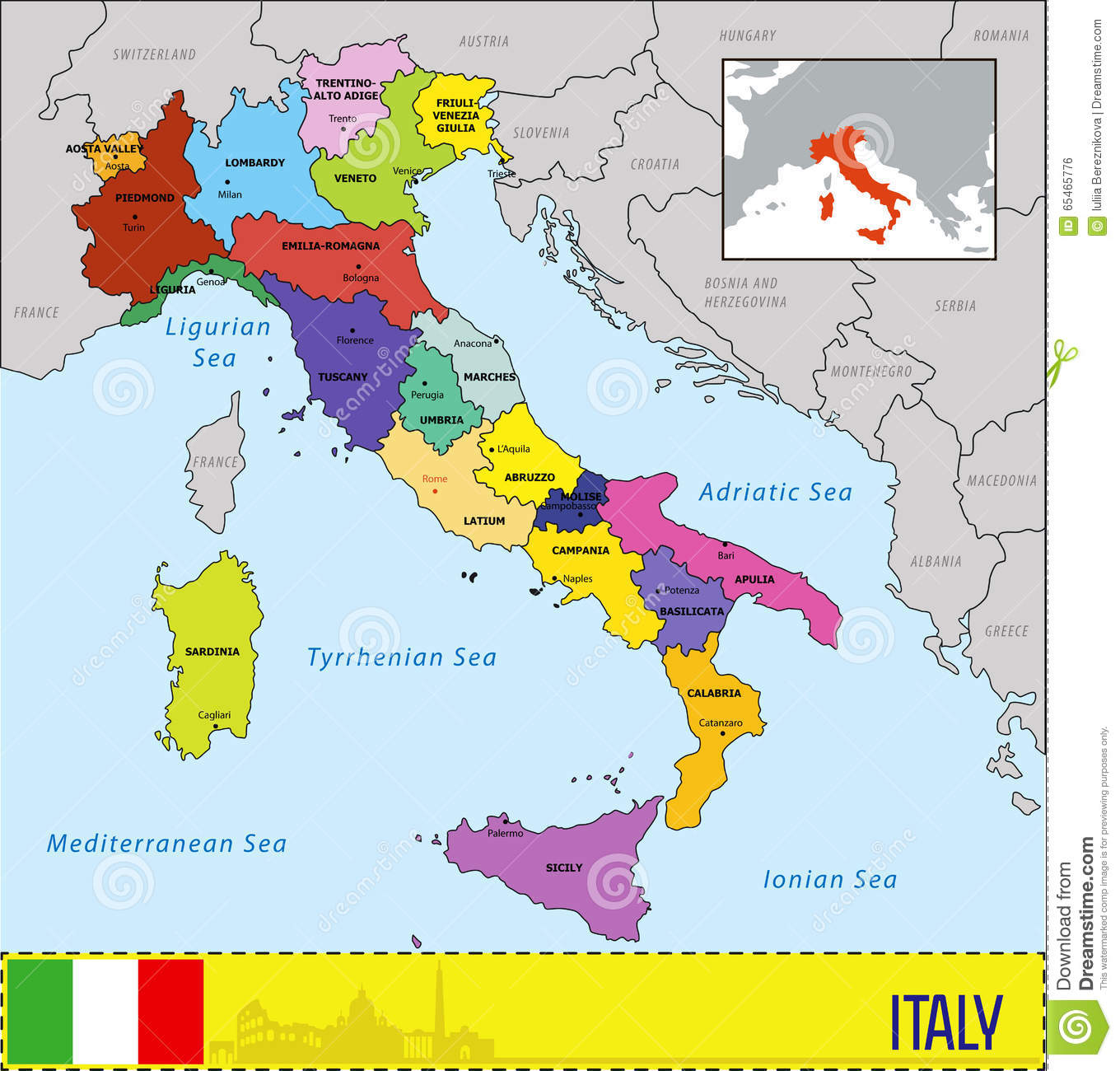 Map Of Italy And Surrounding Areas.Map Of Italy With Regions And Their Capitals Stock Vector