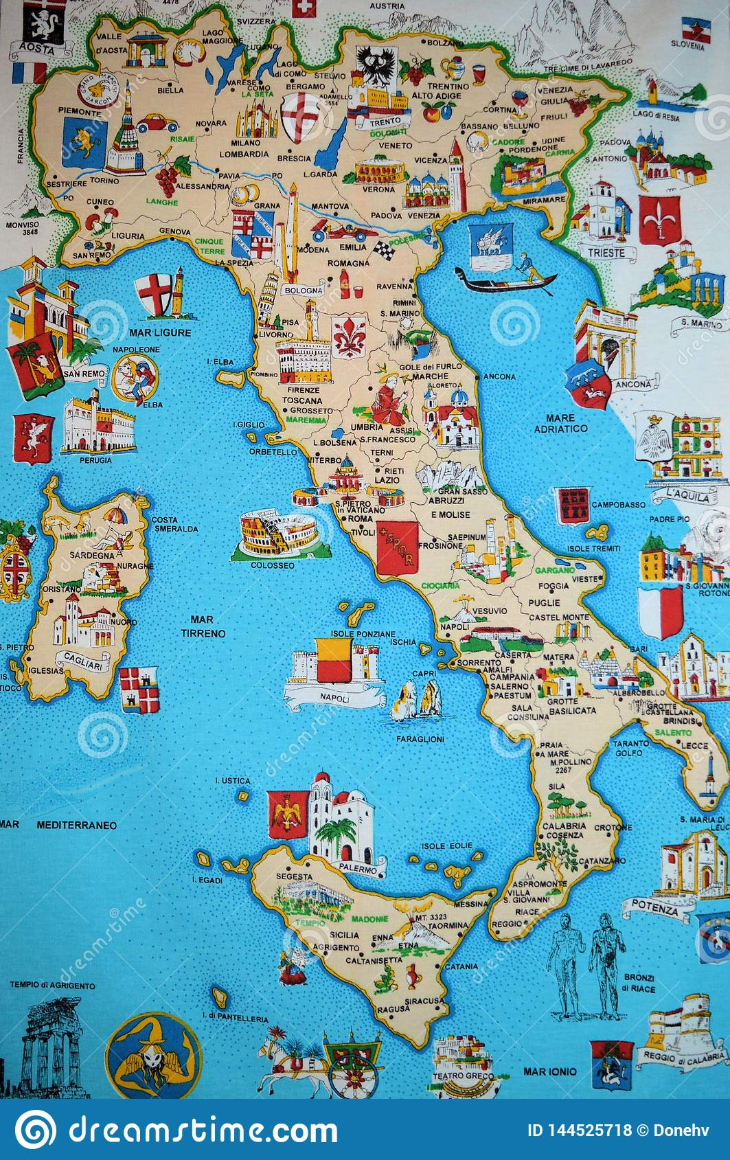 Map Of Italy And Europe.Map Of Italy With Symbols Editorial Stock Photo Image Of Shaped