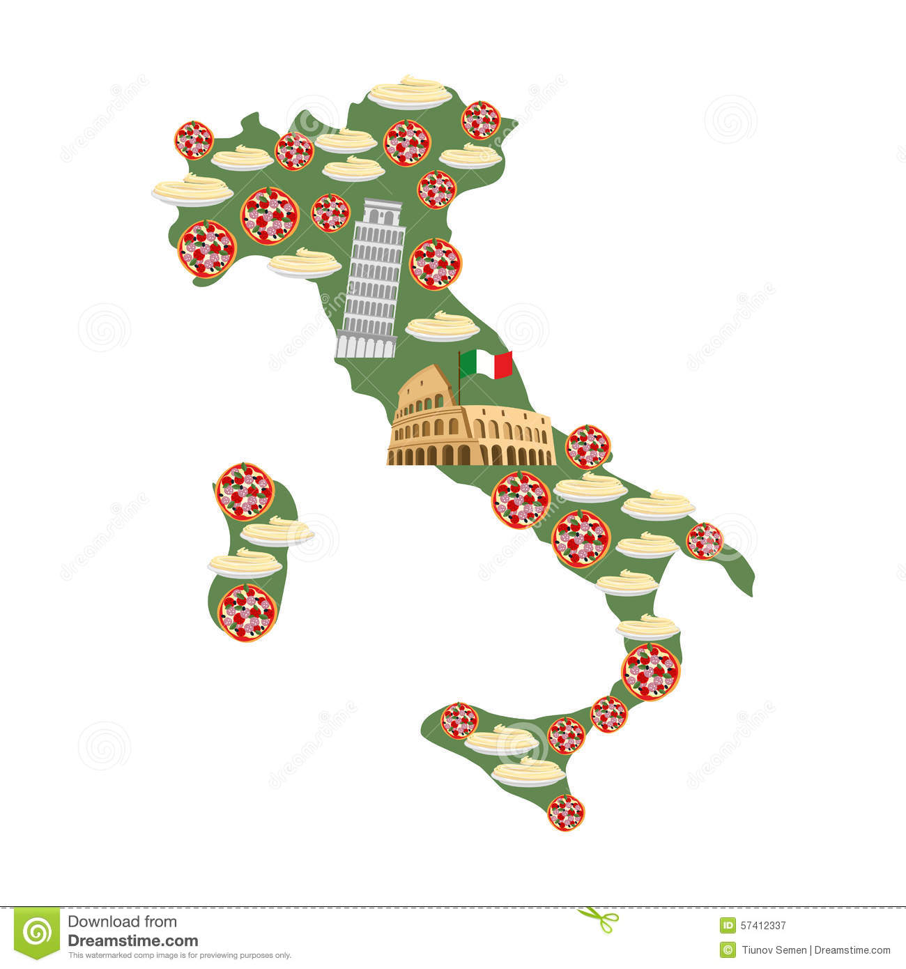 Map Of Italy Traditional Italian Food Symbols Pizza And Pasta