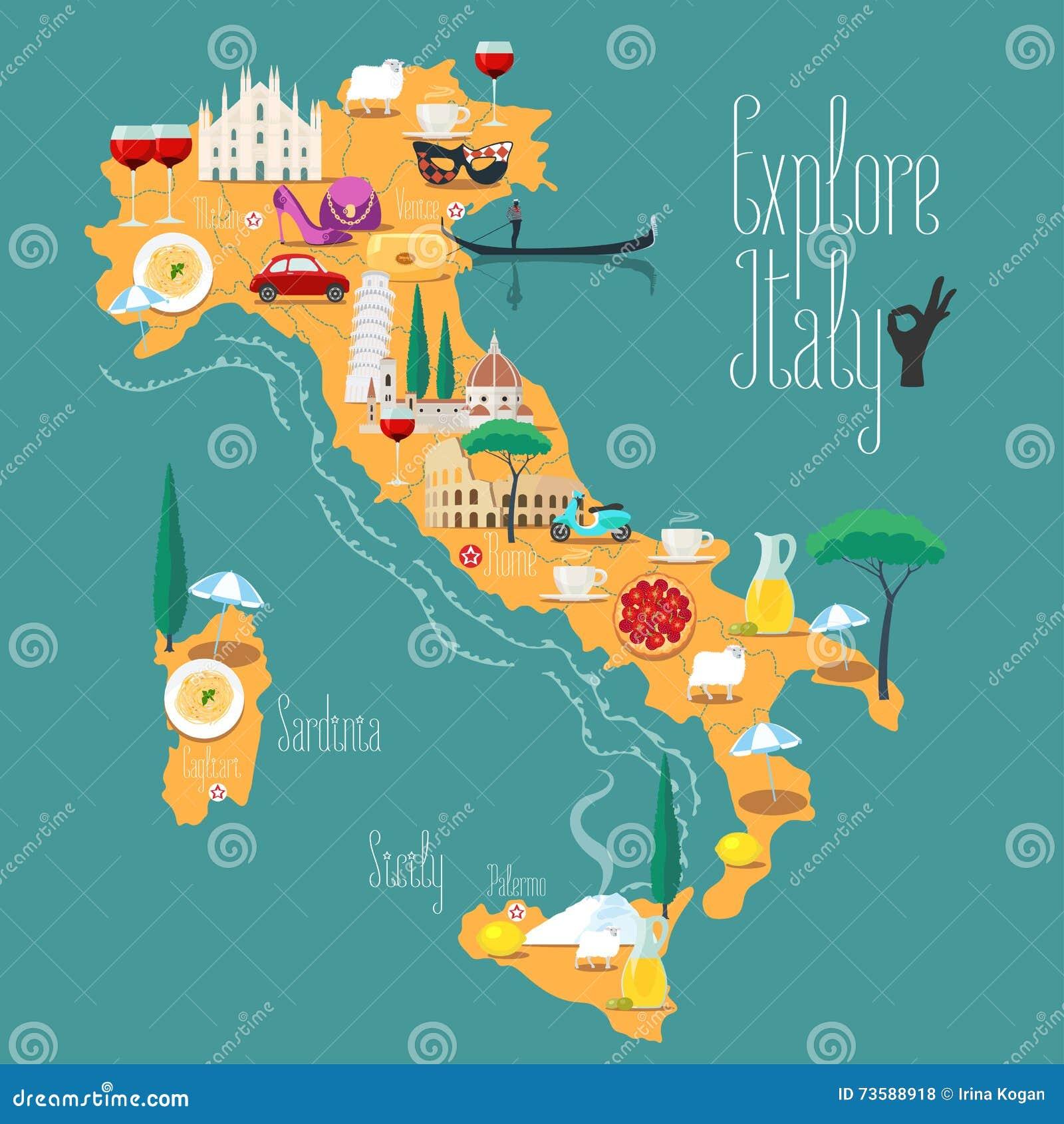 Cartoon Map Of Italy Stock Vector Image Of Italian Food - Map of italy