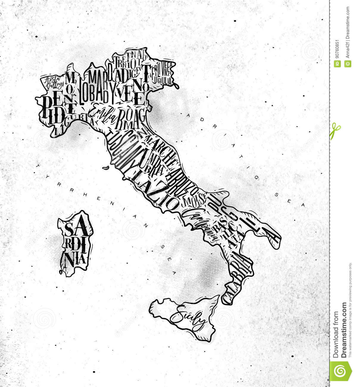 Map Italy vintage stock vector. Illustration of poster - 90760851