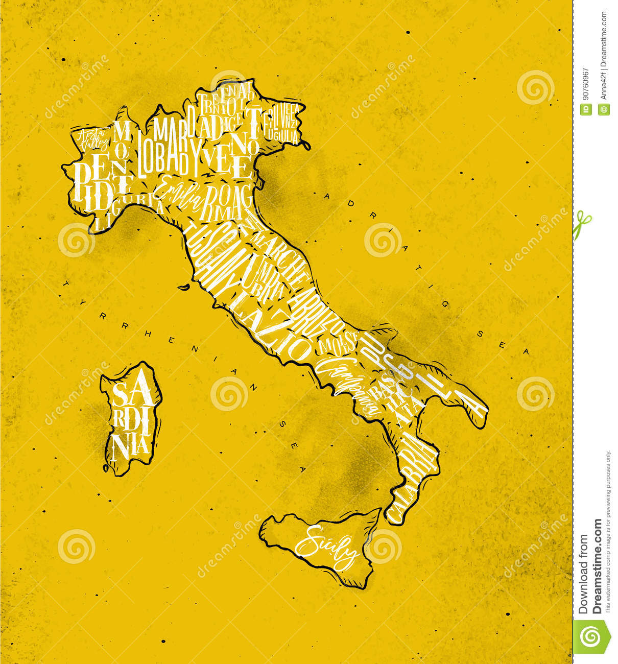 Map Italy vintage yellow stock vector. Illustration of poster - 90760967