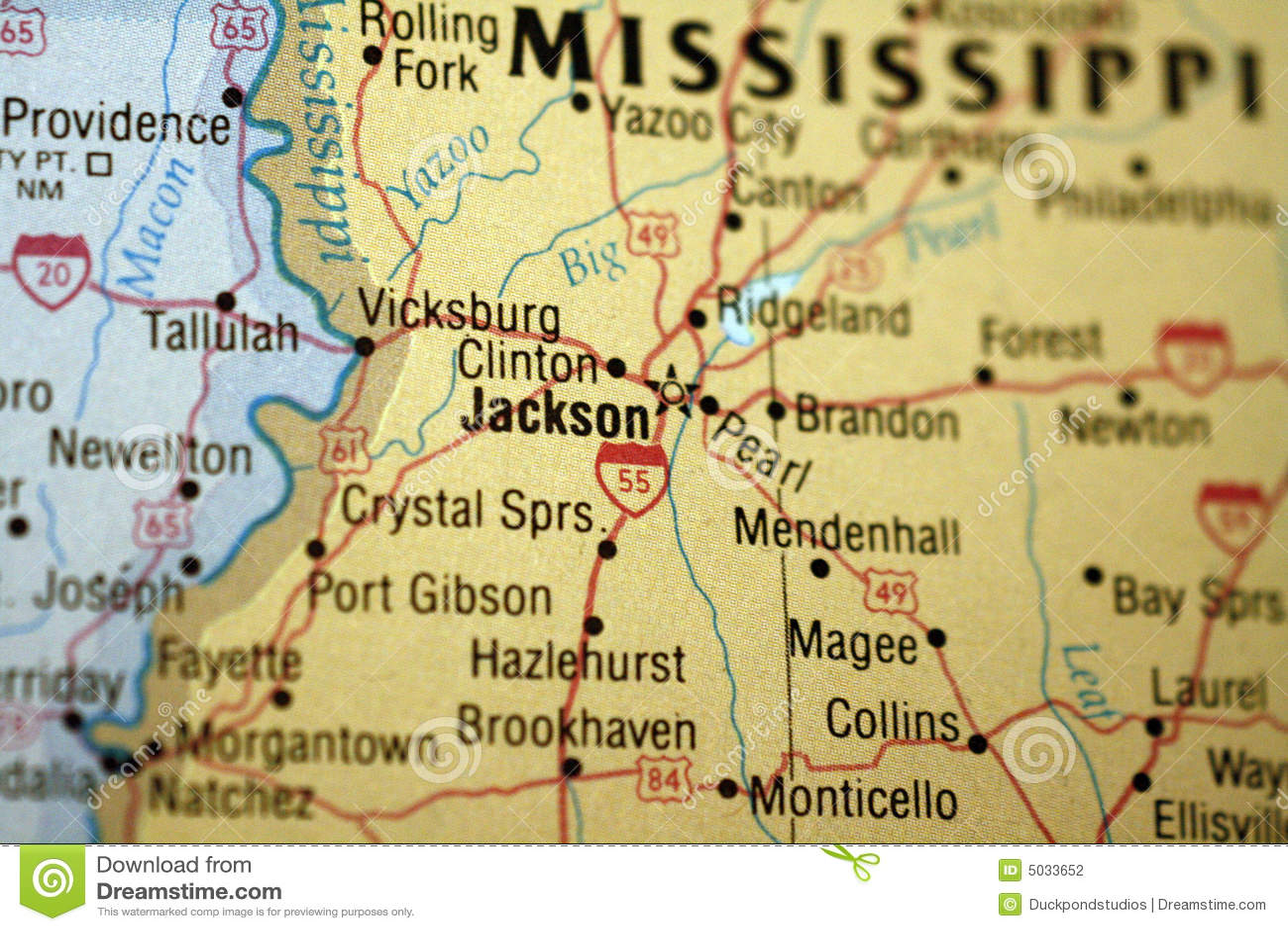 Map Of Jackson Mississippi Stock Photography  Image 5033652