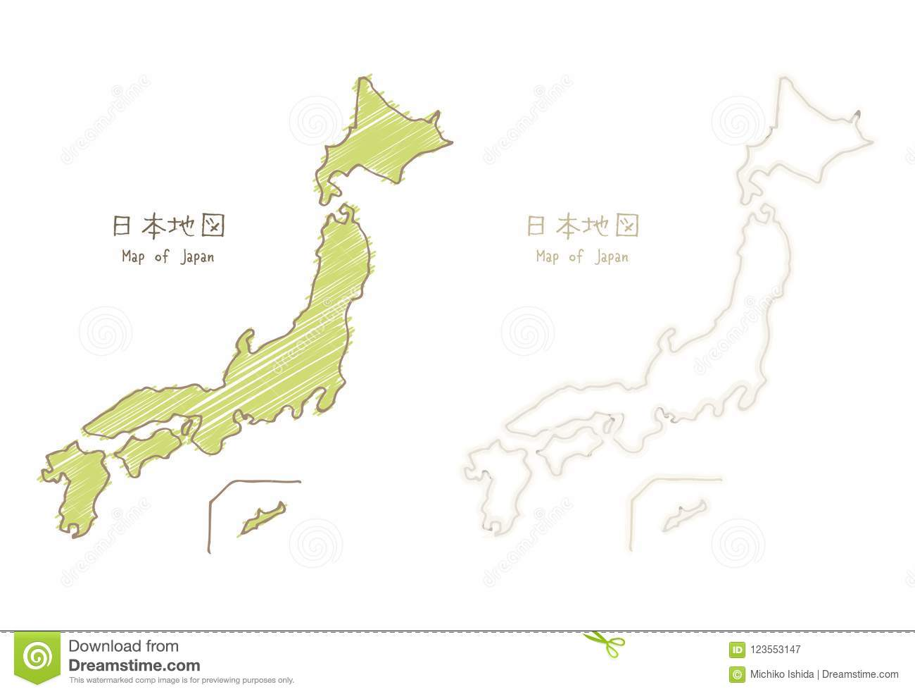 Map Of Japan, Hand-drawn Sketch Blank Map Stock Illustration ...