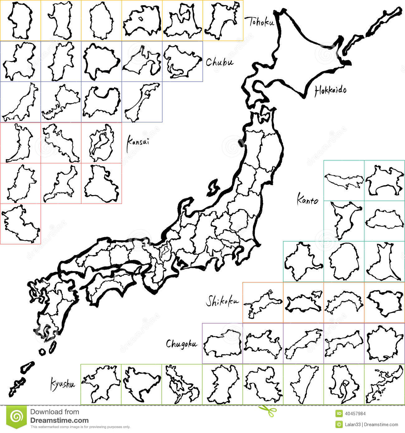 Map Of Japan With Prefectures.Map Of Japanese Prefectures Brush Stroke Line Stock Vector