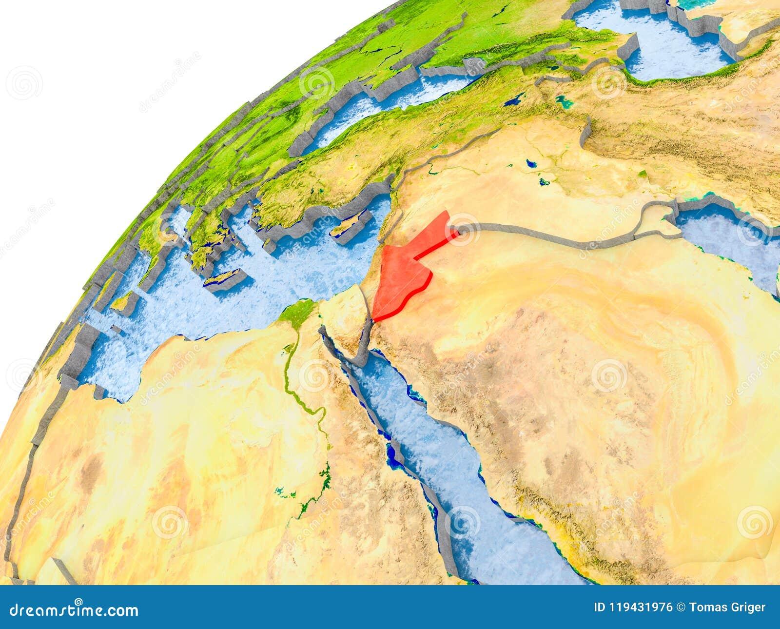 Jordan Political Map.Map Of Jordan In Red On Globe Stock Illustration Illustration Of
