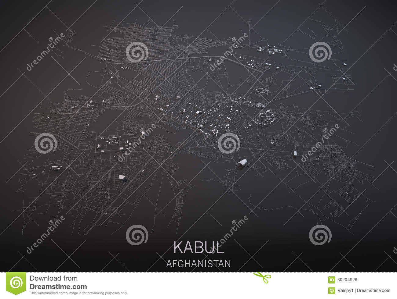 Map Of Kabul Afghanistan Satellite View Stock
