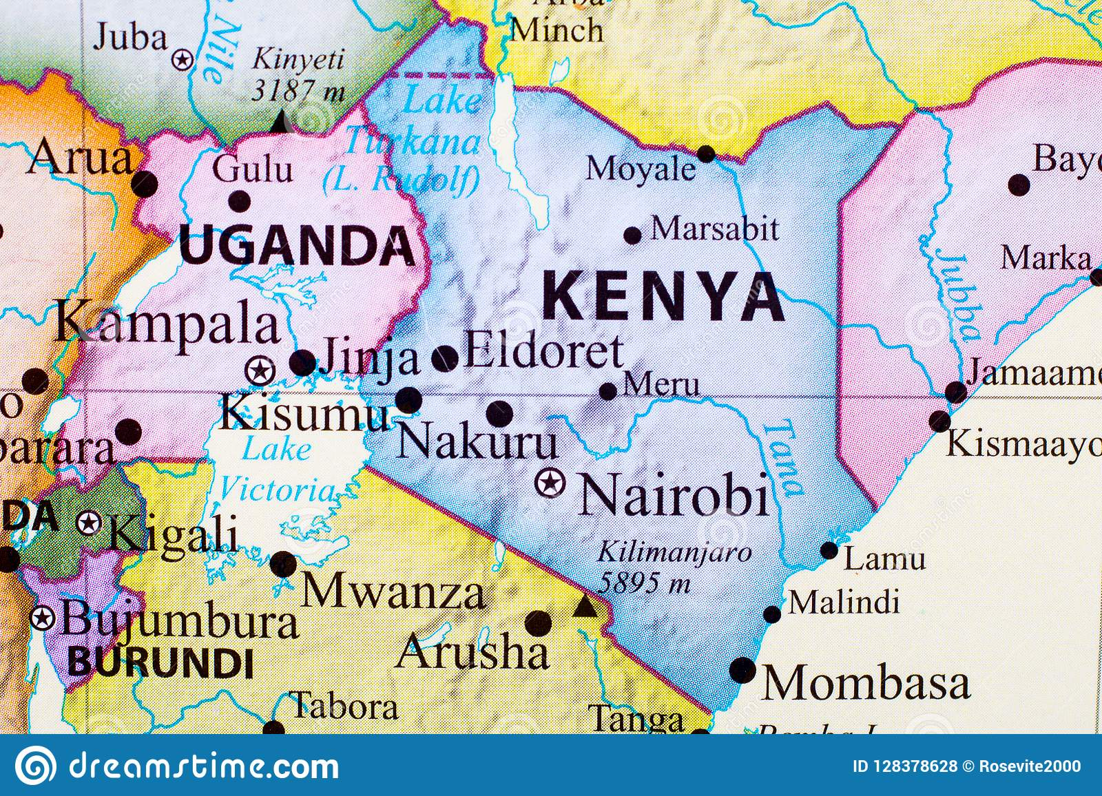 Map of Kenya stock illustration. Illustration of territory - 128378628