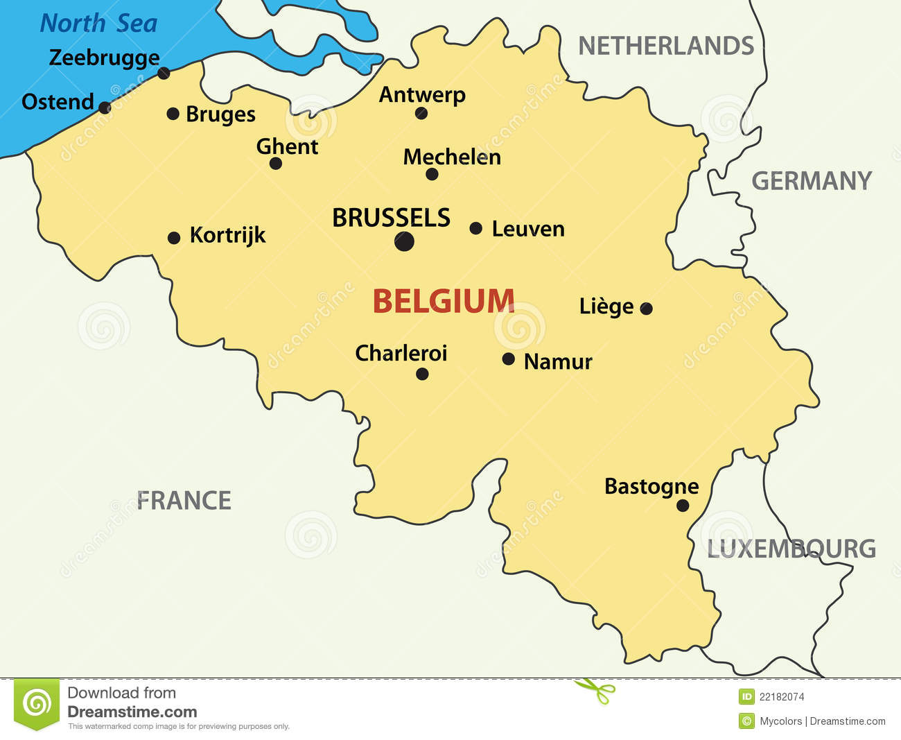 Vector Map Of Belgium Royalty Free Stock Photography - Image: 6929937